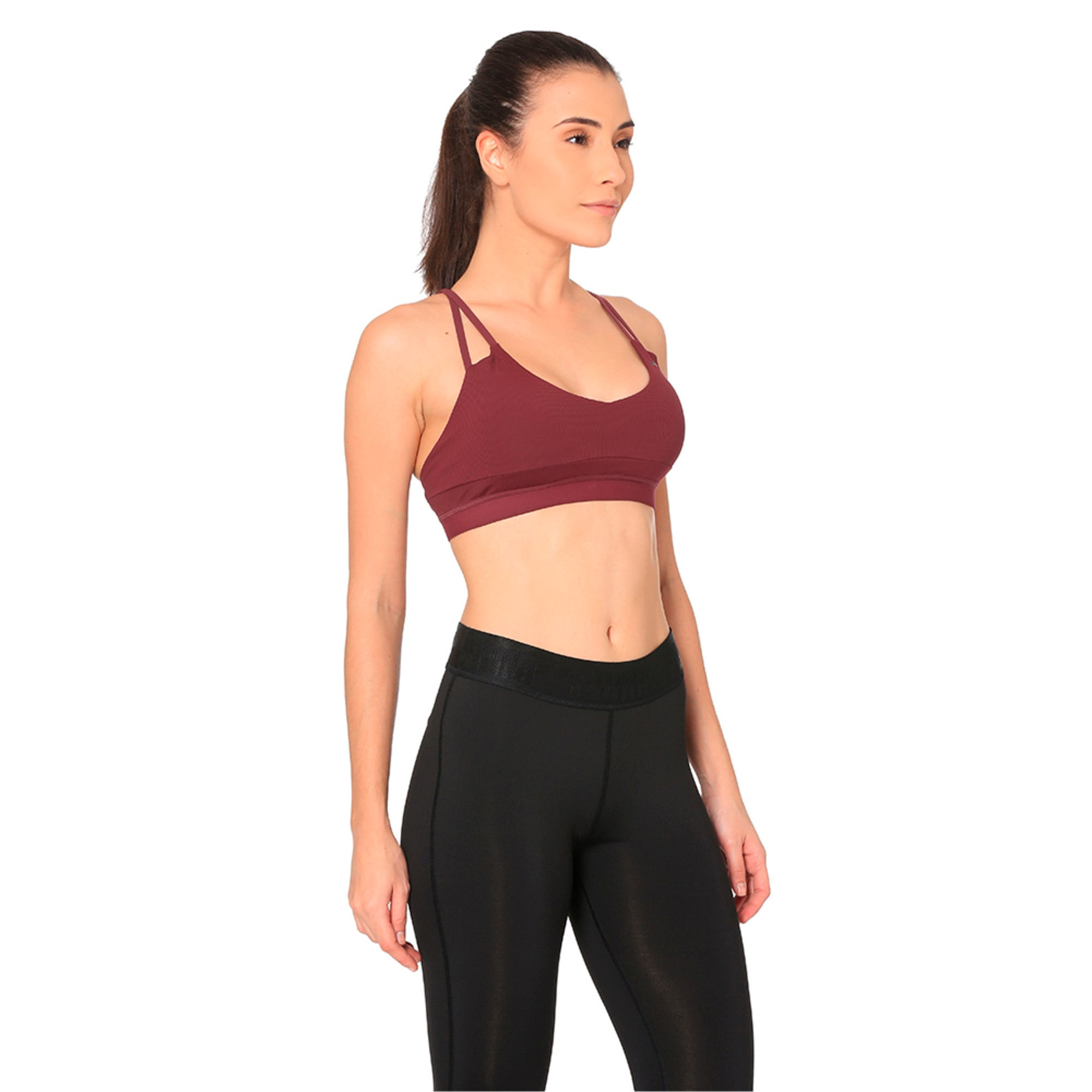 Thumbnail 2 of Strappy Mix Low Impact Women's Bra Top, Fig, medium-IND