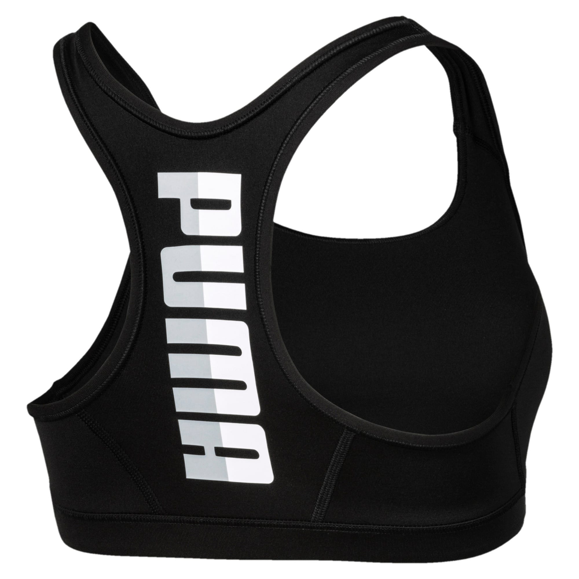 Thumbnail 5 of 4Keeps Mid Impact Women's Bra Top, Puma Black-white PUMA back, medium