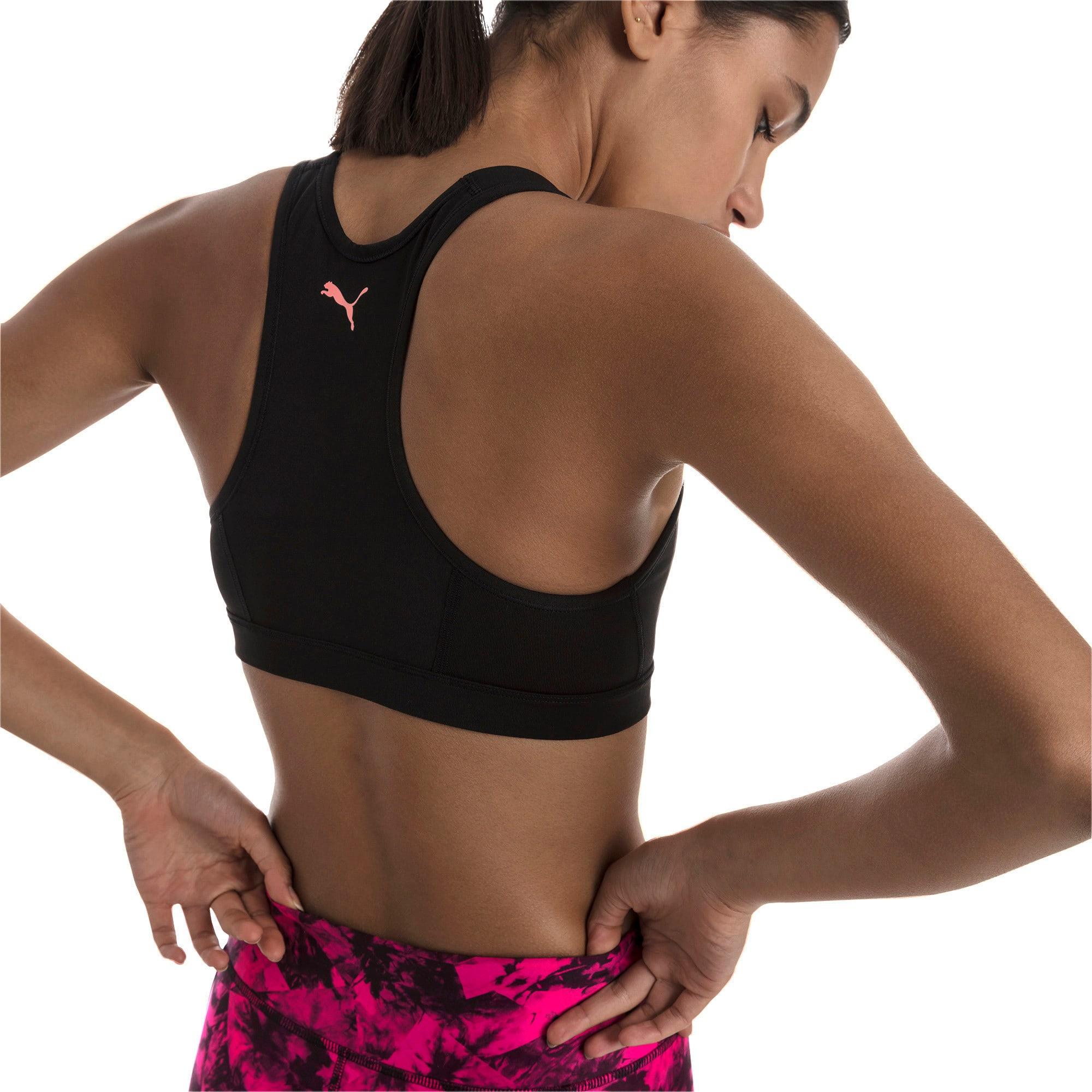 Thumbnail 2 of 4Keeps Mid Impact Women's Bra Top, Puma Black-Bright Peach PUMA, medium-IND