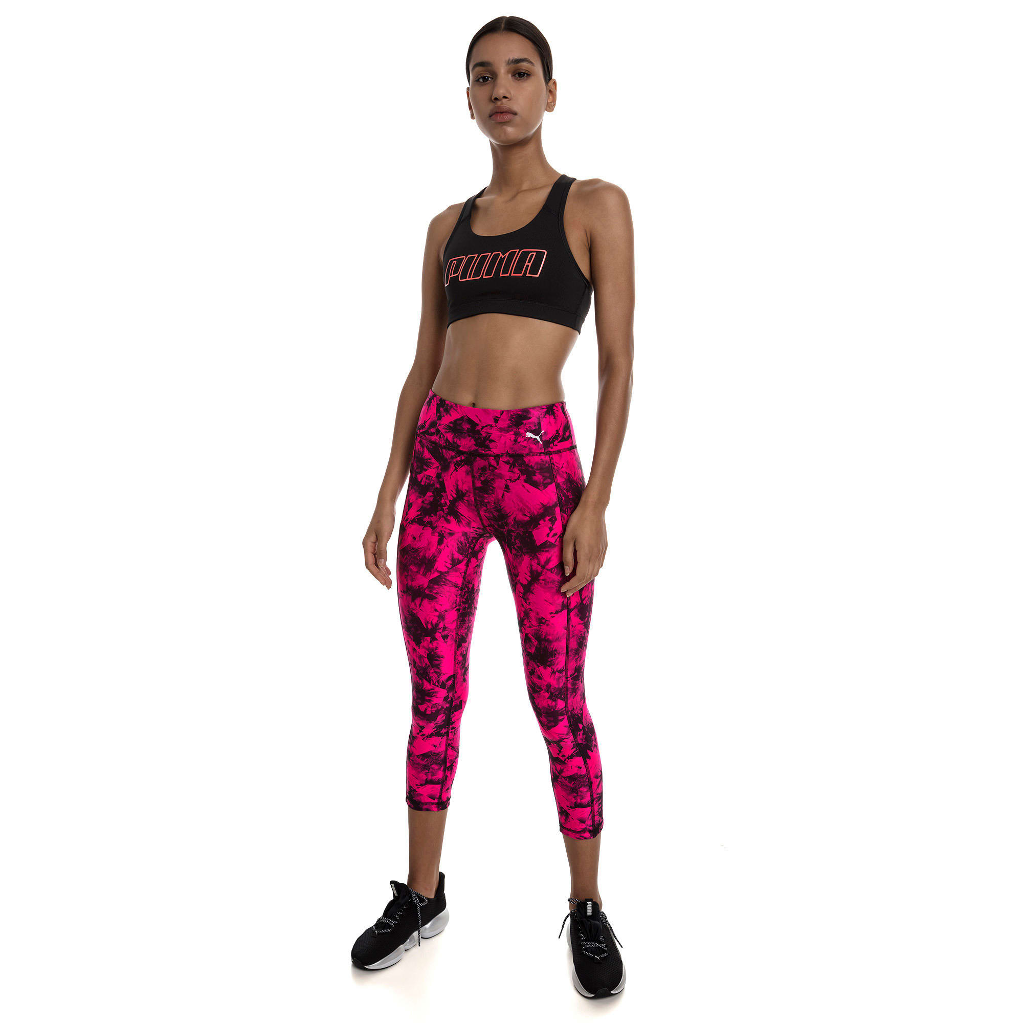 Thumbnail 3 of 4Keeps Mid Impact Women's Bra Top, Puma Black-Bright Peach PUMA, medium-IND