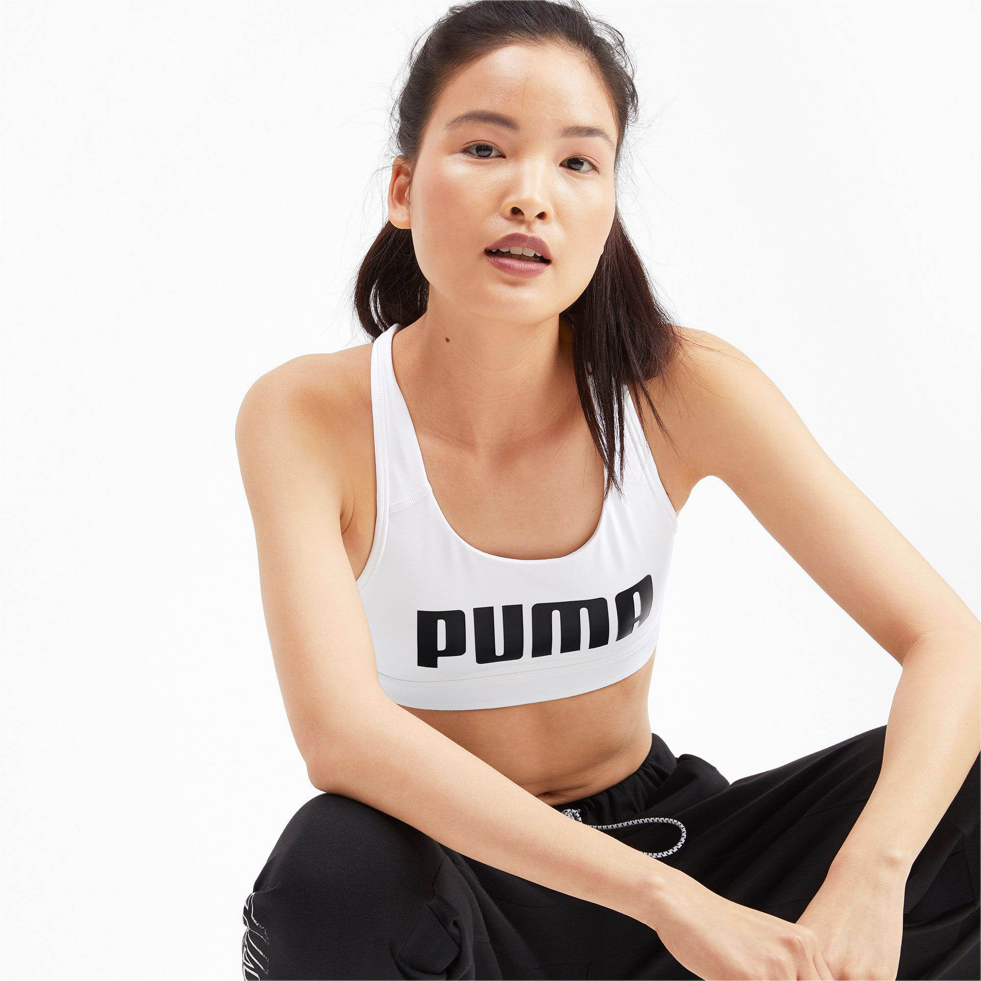 Thumbnail 1 of 4Keeps Mid Impact Women's Bra Top, Puma White-Puma Black, medium