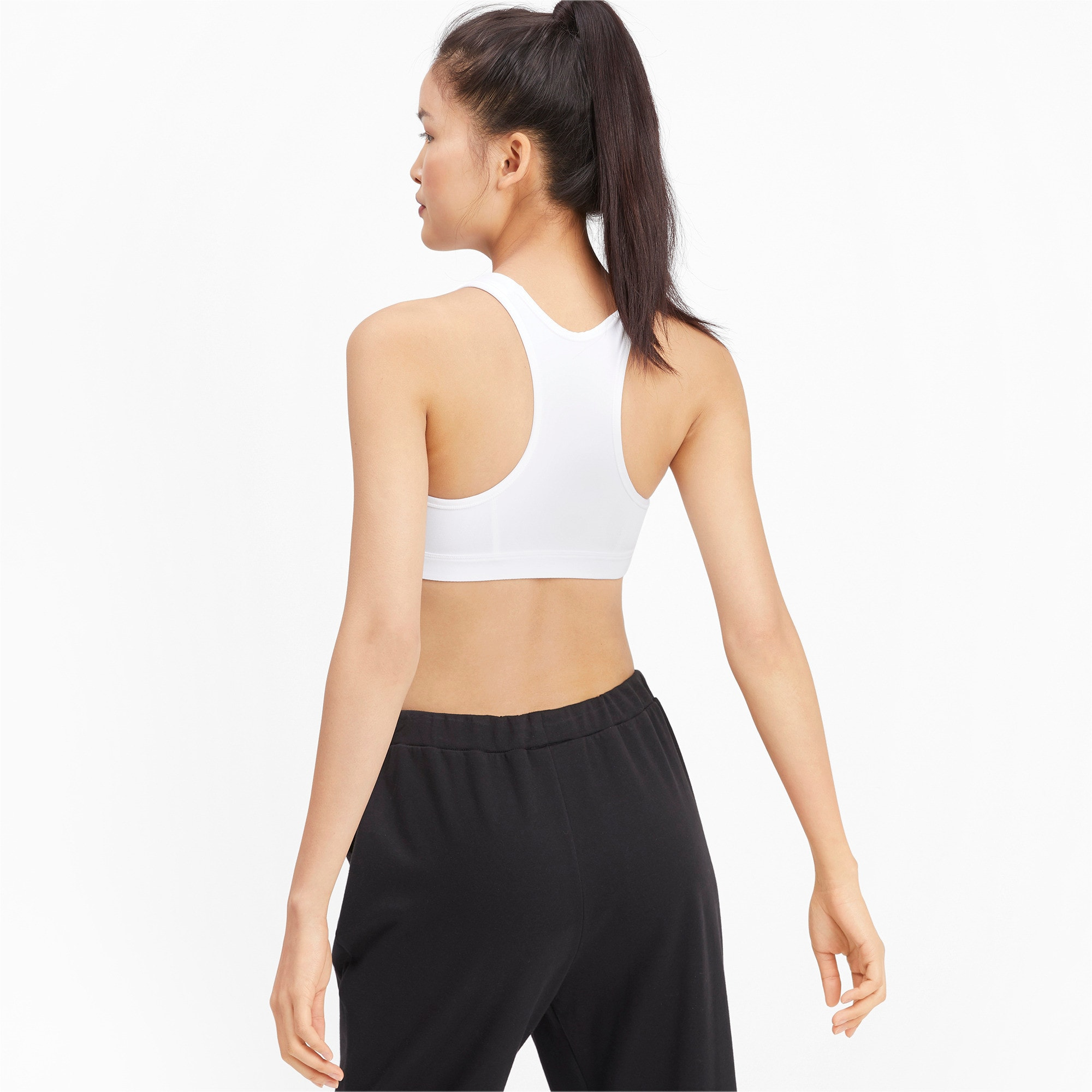 Thumbnail 2 of 4Keeps Mid Impact Women's Bra Top, Puma White-Puma Black, medium
