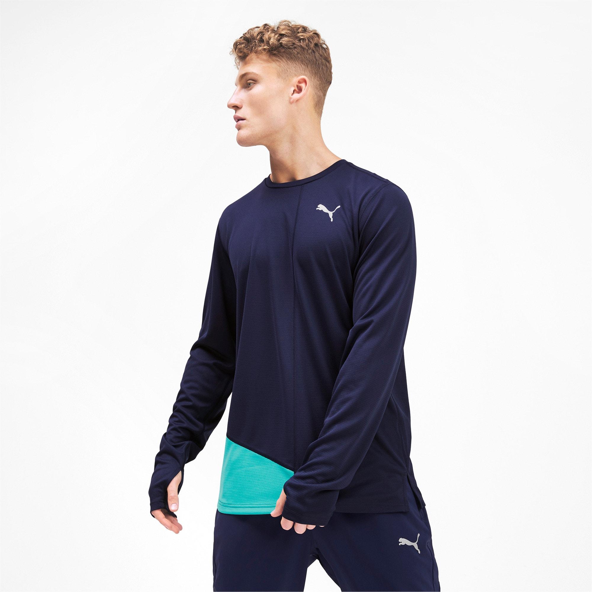 Thumbnail 1 van IGNITE T-shirt met lange mouwen voor mannen, Peacoat-blauwturquoise, medium