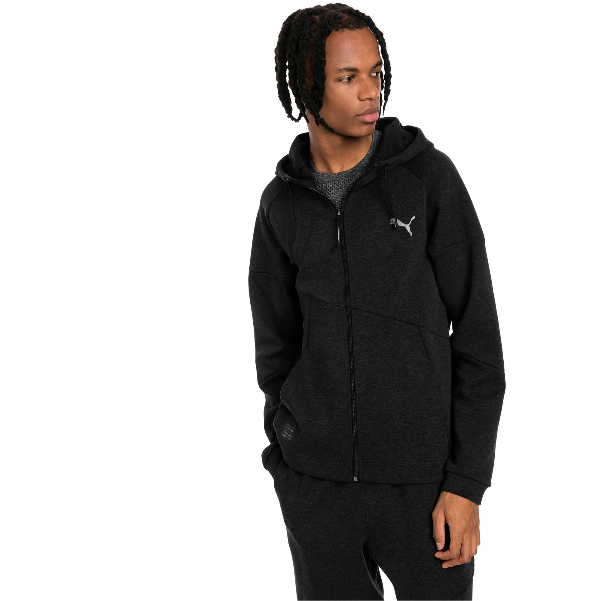 Thumbnail 1 of BND Tech Second Layer Knitted Hooded Men's Jacket, Puma Black Heather, medium-IND