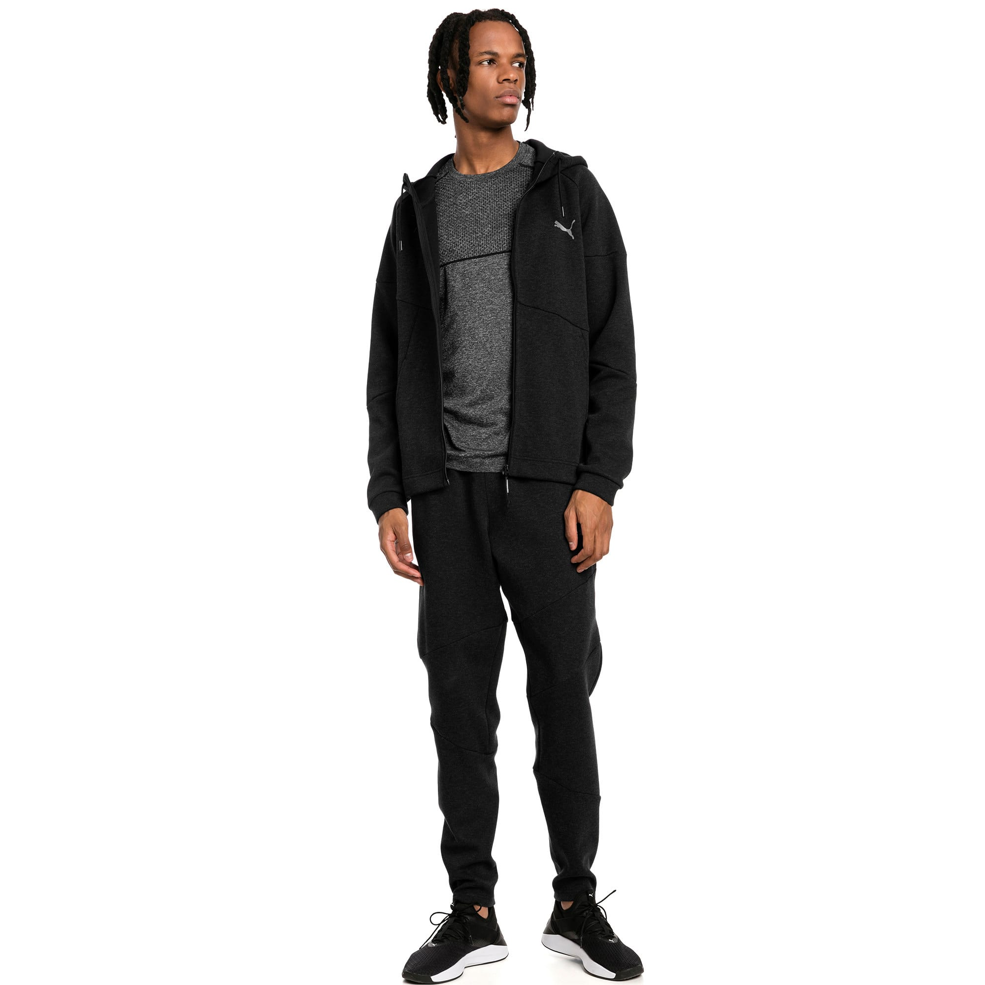 Thumbnail 3 of BND Tech Second Layer Knitted Hooded Men's Jacket, Puma Black Heather, medium-IND