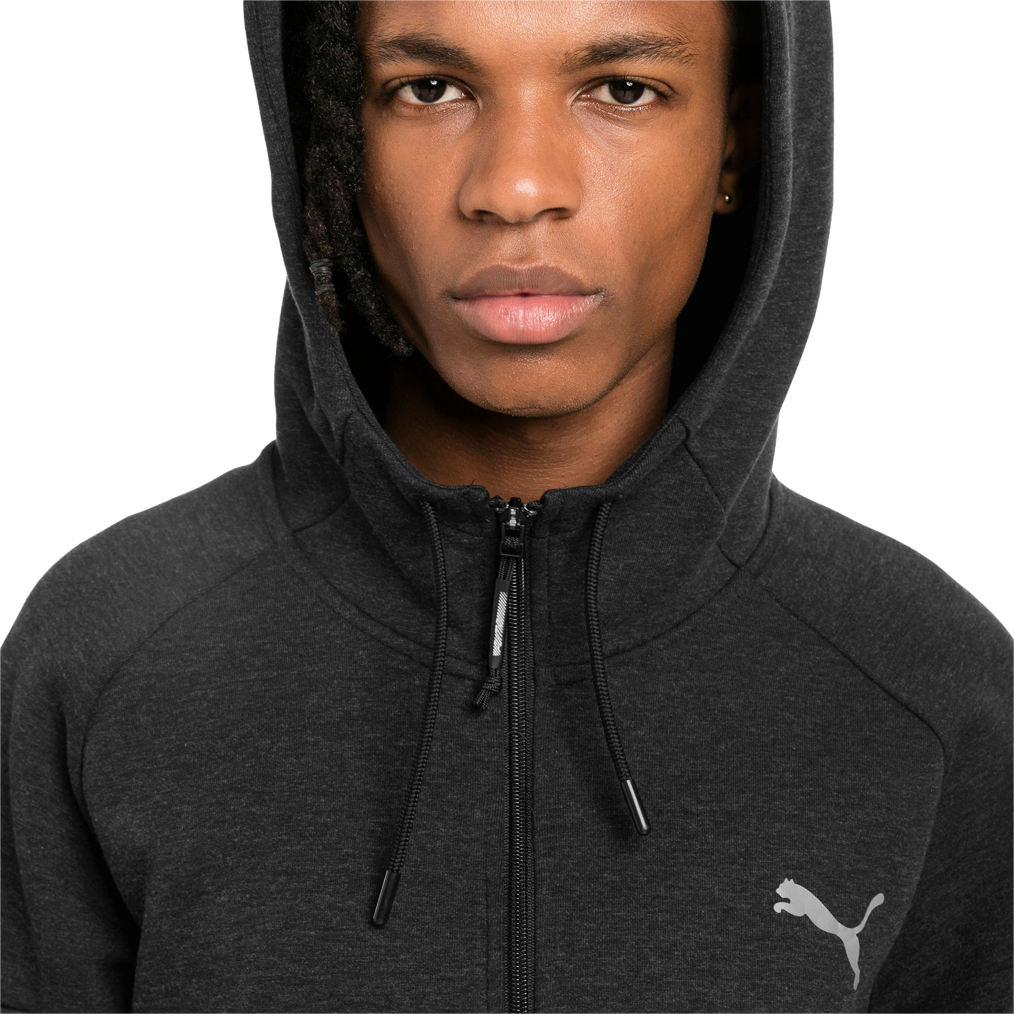 Thumbnail 4 of BND Tech Second Layer Knitted Hooded Men's Jacket, Puma Black Heather, medium-IND
