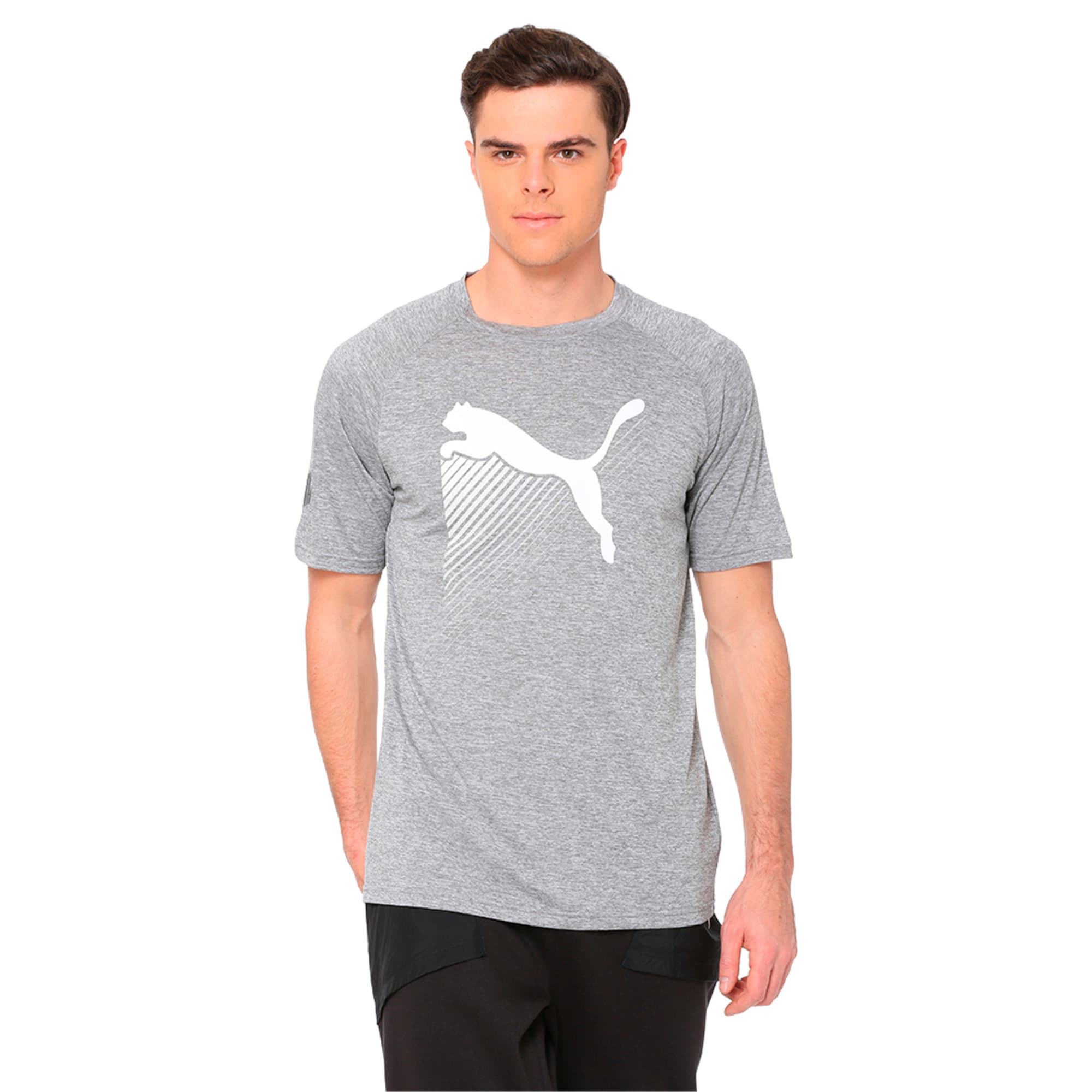 Thumbnail 1 of The CAT Heather Men's Training Tee, Charcoal Gray Heather, medium-IND