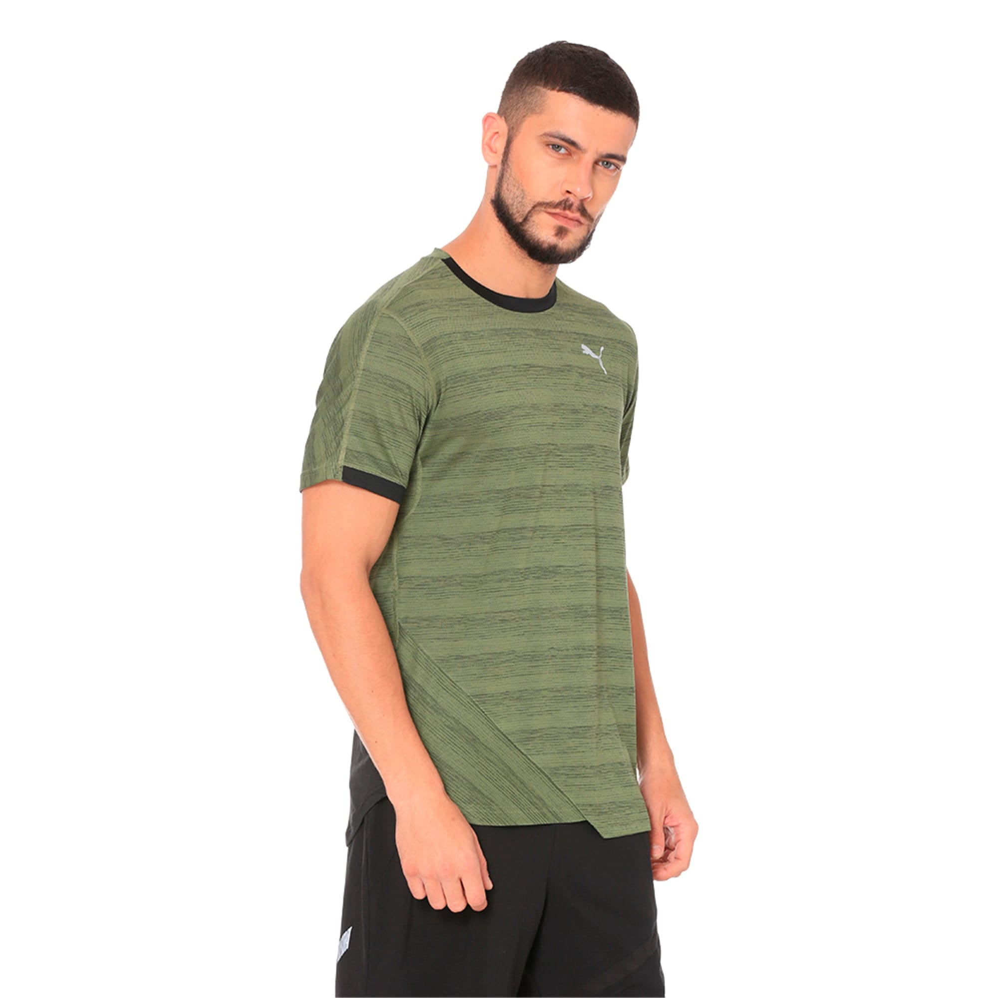 PACE Breeze Short Sleeve Men's Running Tee, Olivine-Puma Black, large-IND