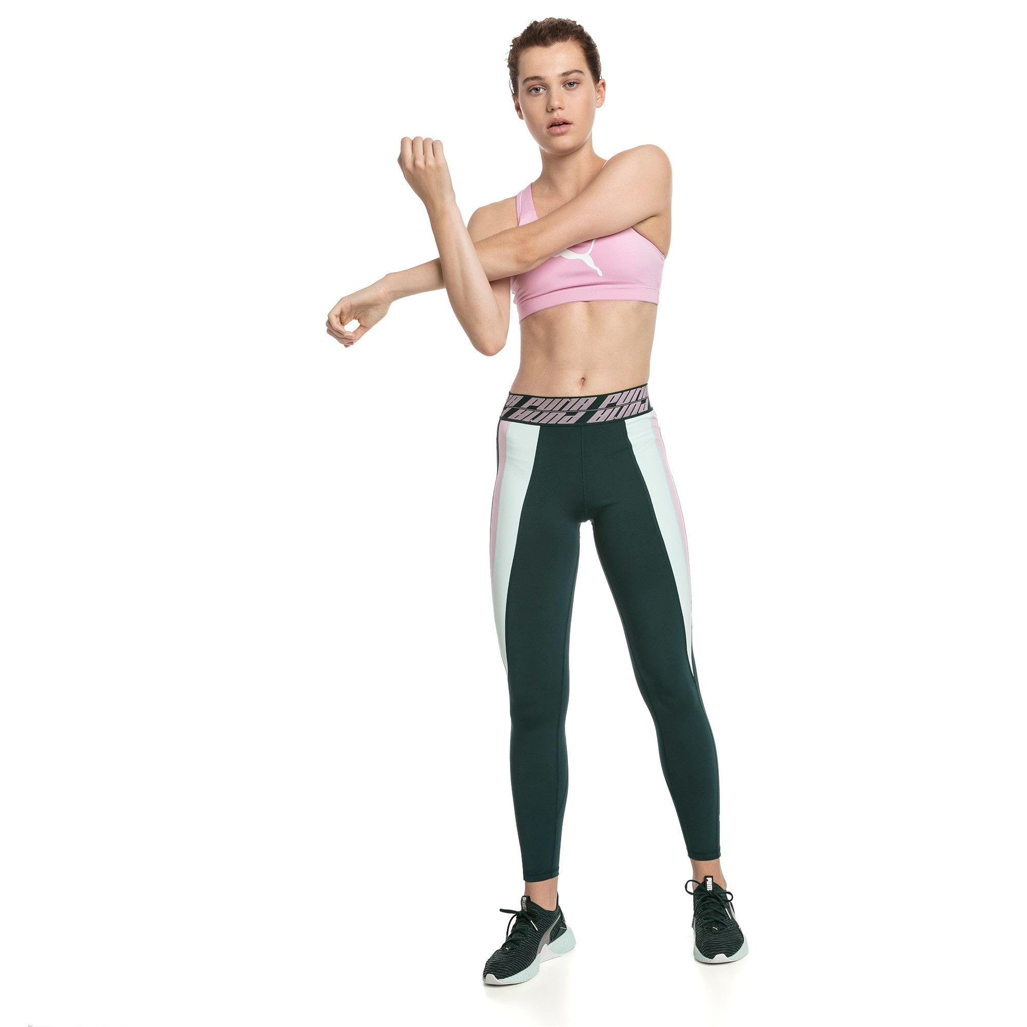 Thumbnail 3 of Own It Full Women's Training Tights, Ponderosa Pine-Fair Aqua, medium-IND