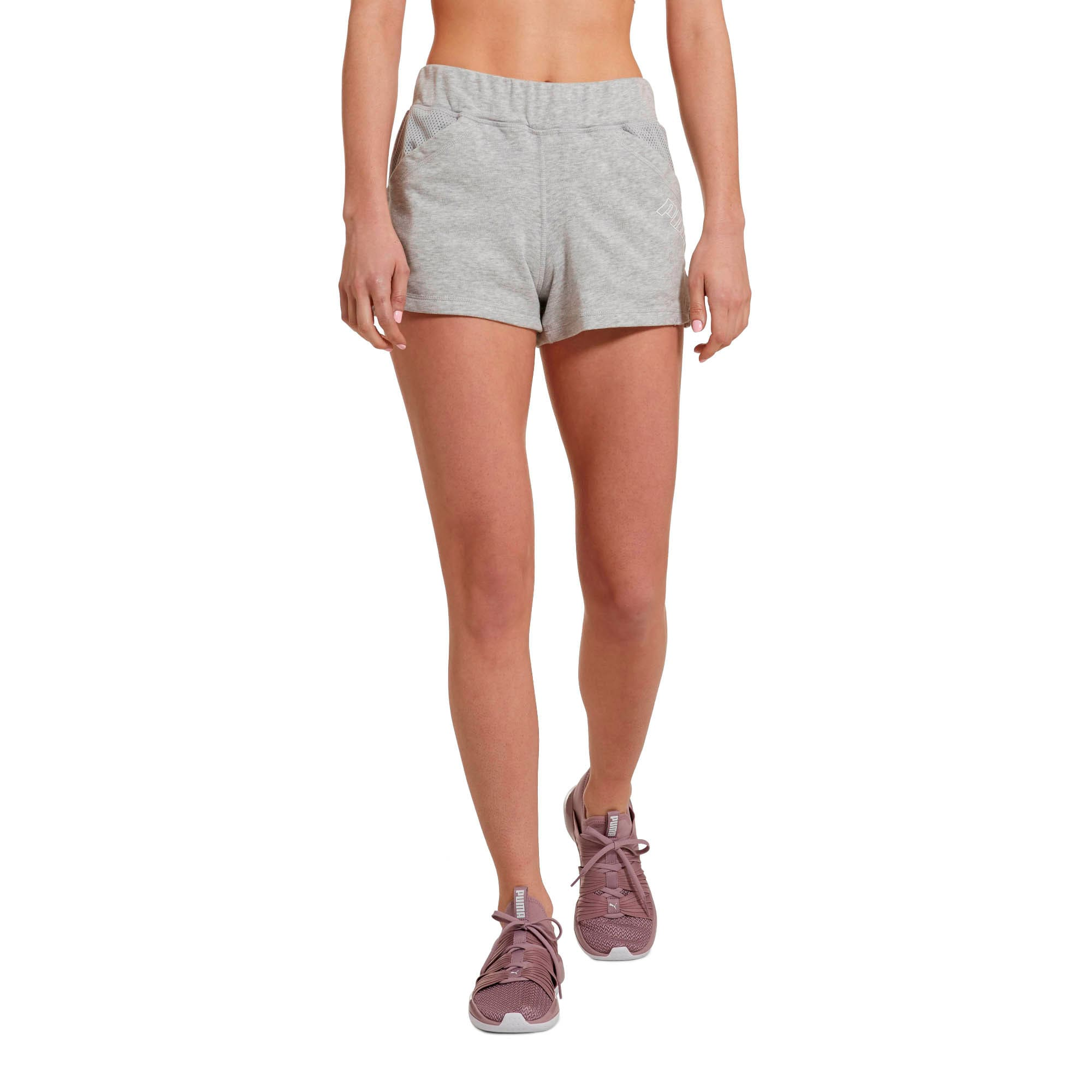 "Thumbnail 1 of Yogini Women's 3"" Shorts, Light Gray Heather, medium"