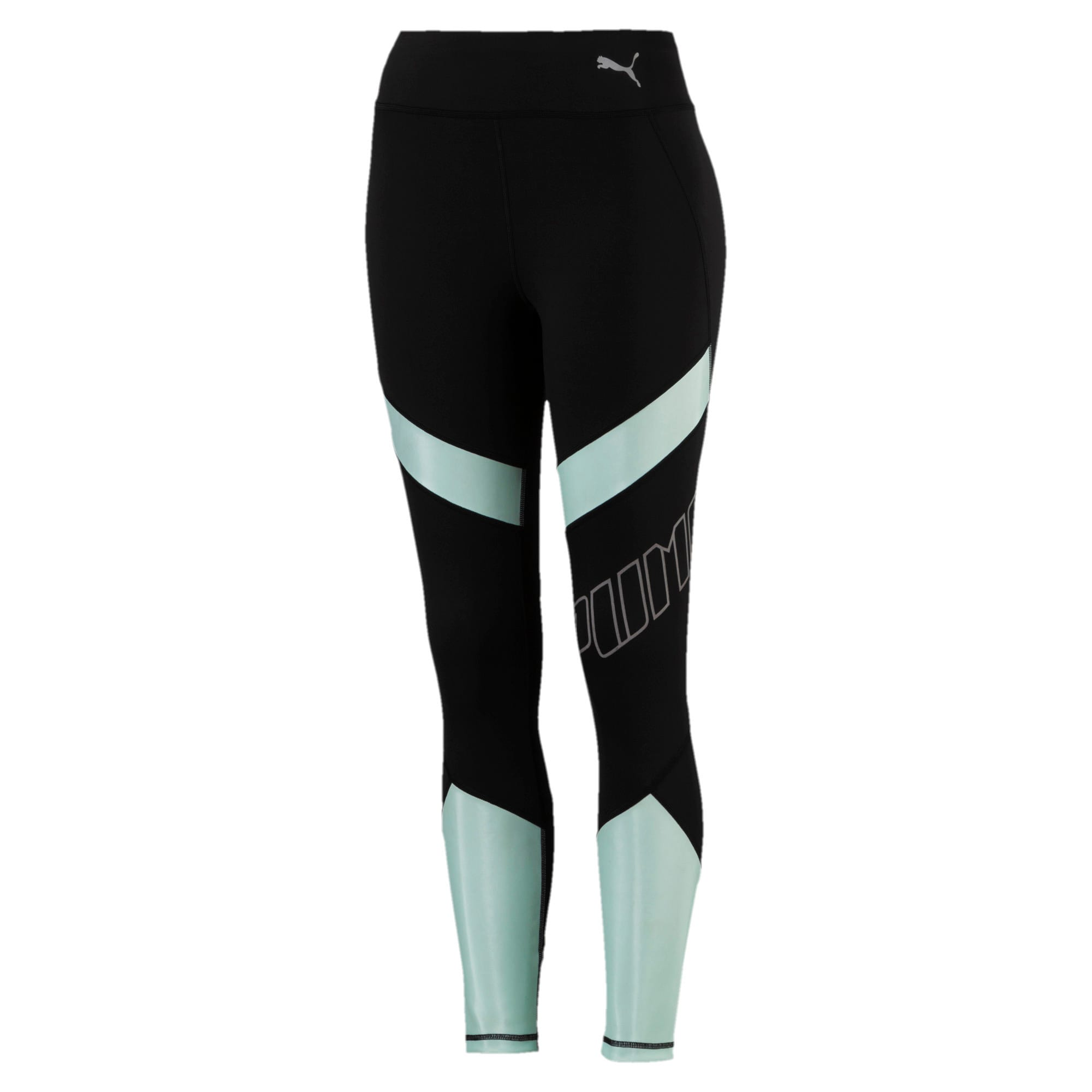 Thumbnail 4 of Elite Women's Running Leggings, Puma Black-Fair Aqua, medium-SEA