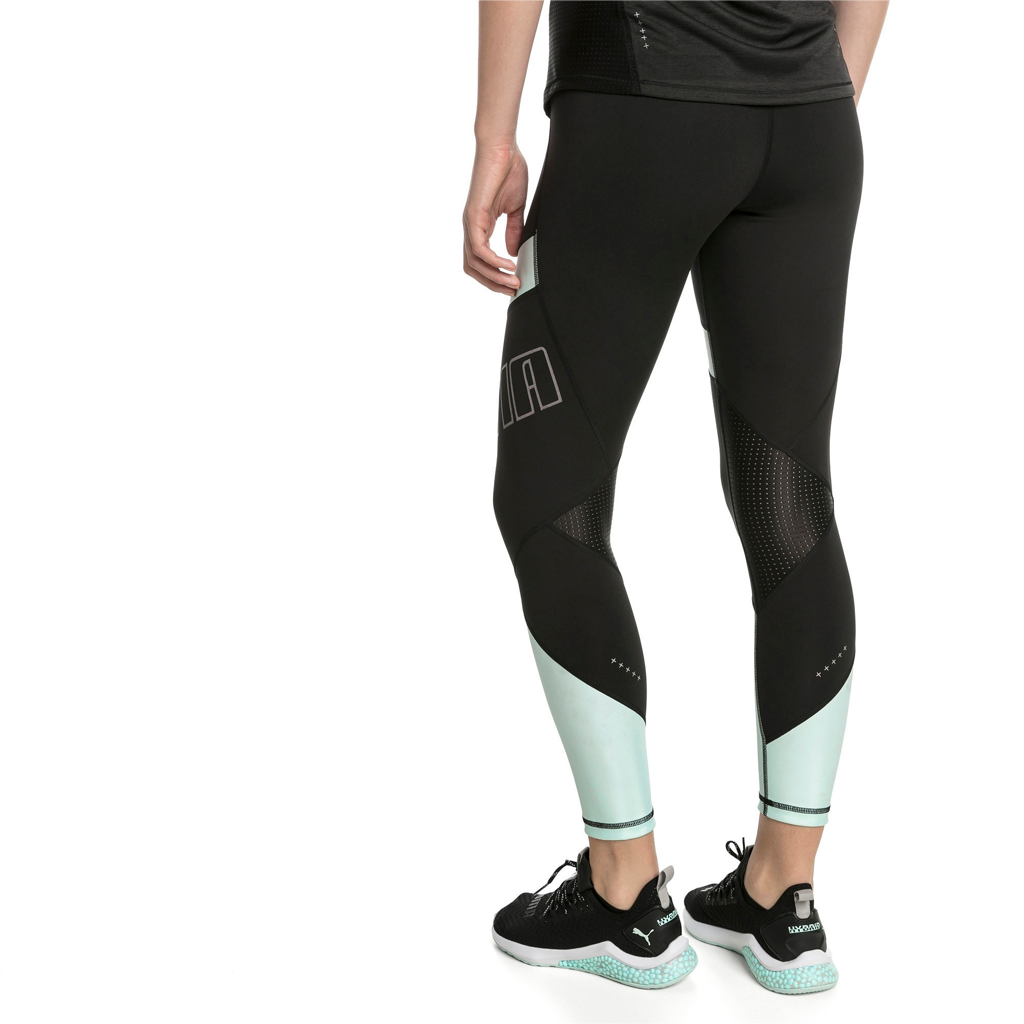 Thumbnail 2 of Elite Women's Running Leggings, Puma Black-Fair Aqua, medium-SEA