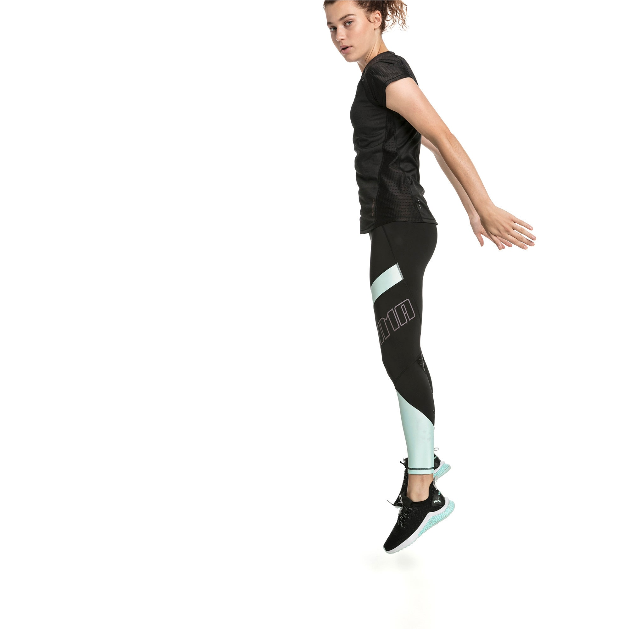 Thumbnail 3 of Elite Women's Running Leggings, Puma Black-Fair Aqua, medium-SEA