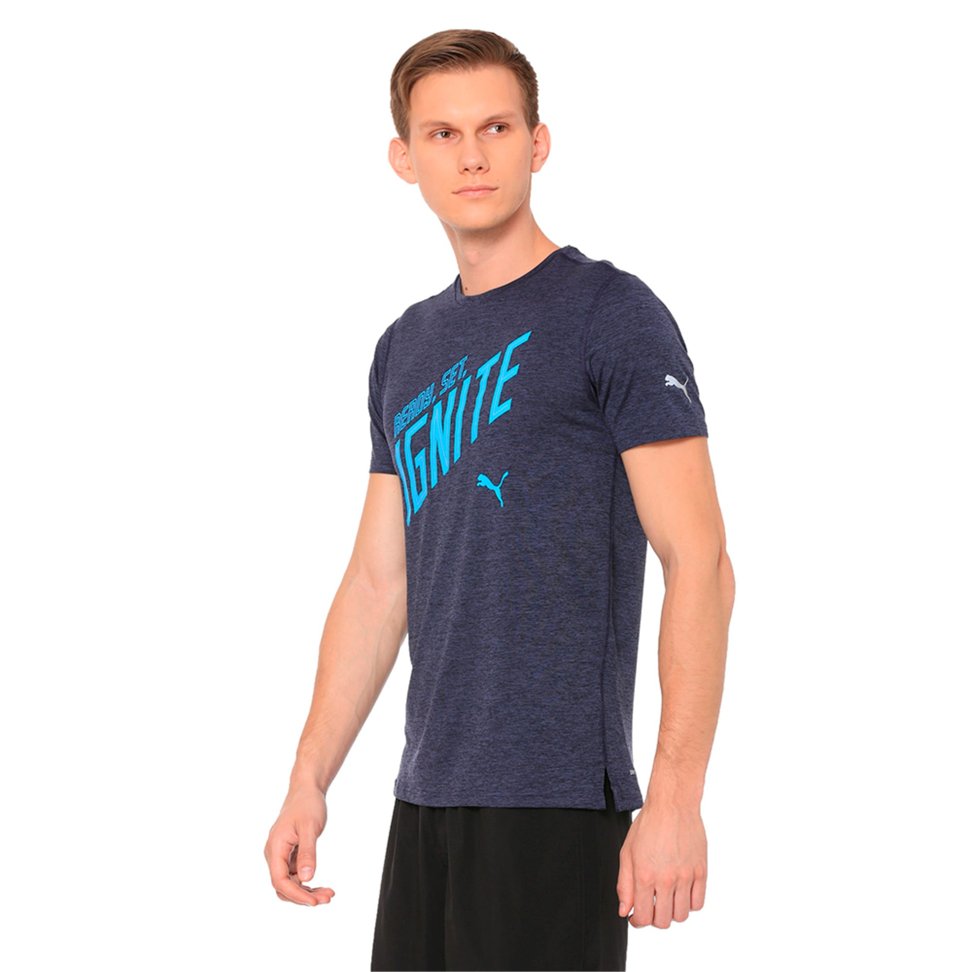 Thumbnail 1 of IGNITE Heather Short Sleeve Men's Running Tee, Peacoat Heather, medium-IND