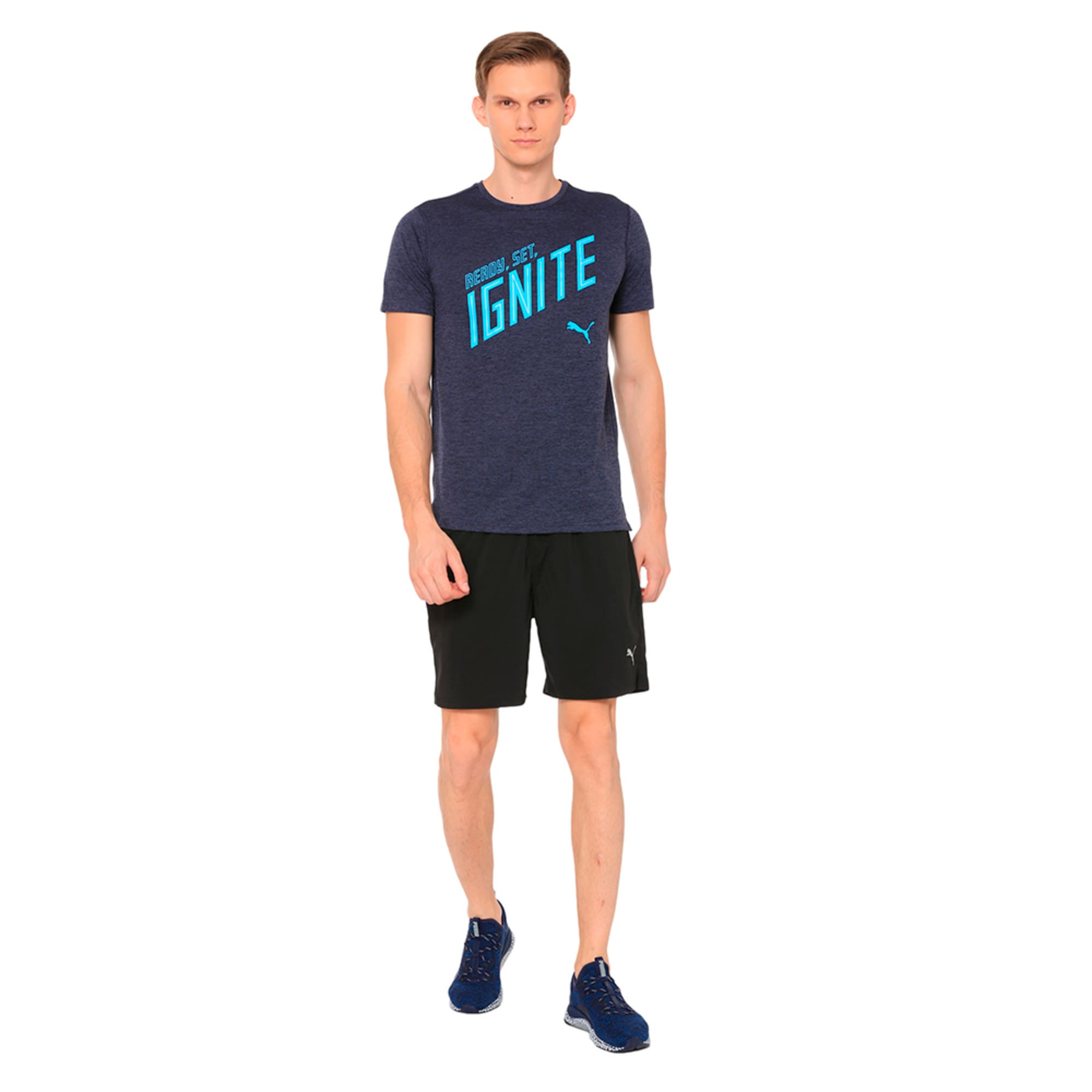 Thumbnail 3 of IGNITE Heather Short Sleeve Men's Running Tee, Peacoat Heather, medium-IND