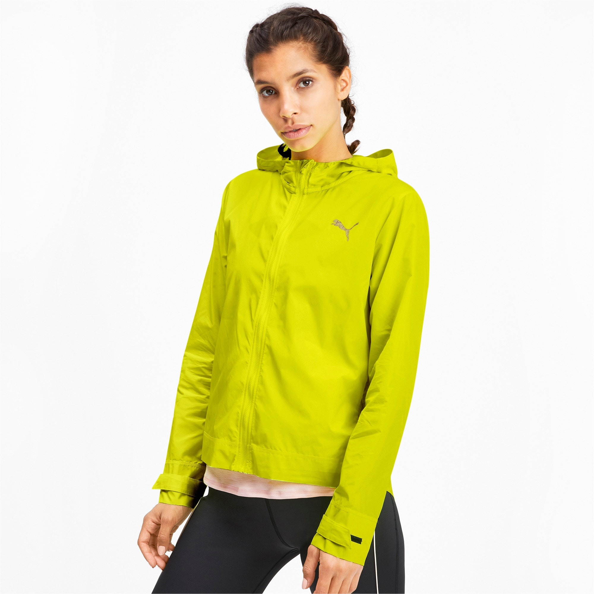 Thumbnail 1 of SHIFT Packable Hooded Full Zip Women's Training Windbreaker, Yellow Alert, medium