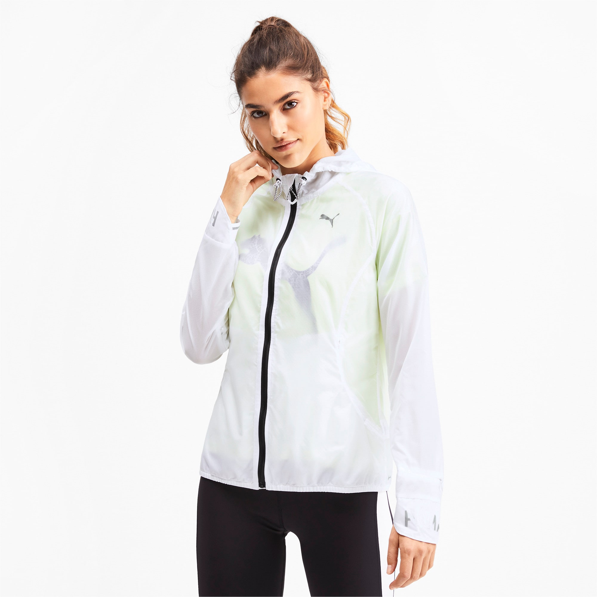 Thumbnail 1 of Get Fast Hooded Full Zip Women's Running Jacket, Puma White, medium