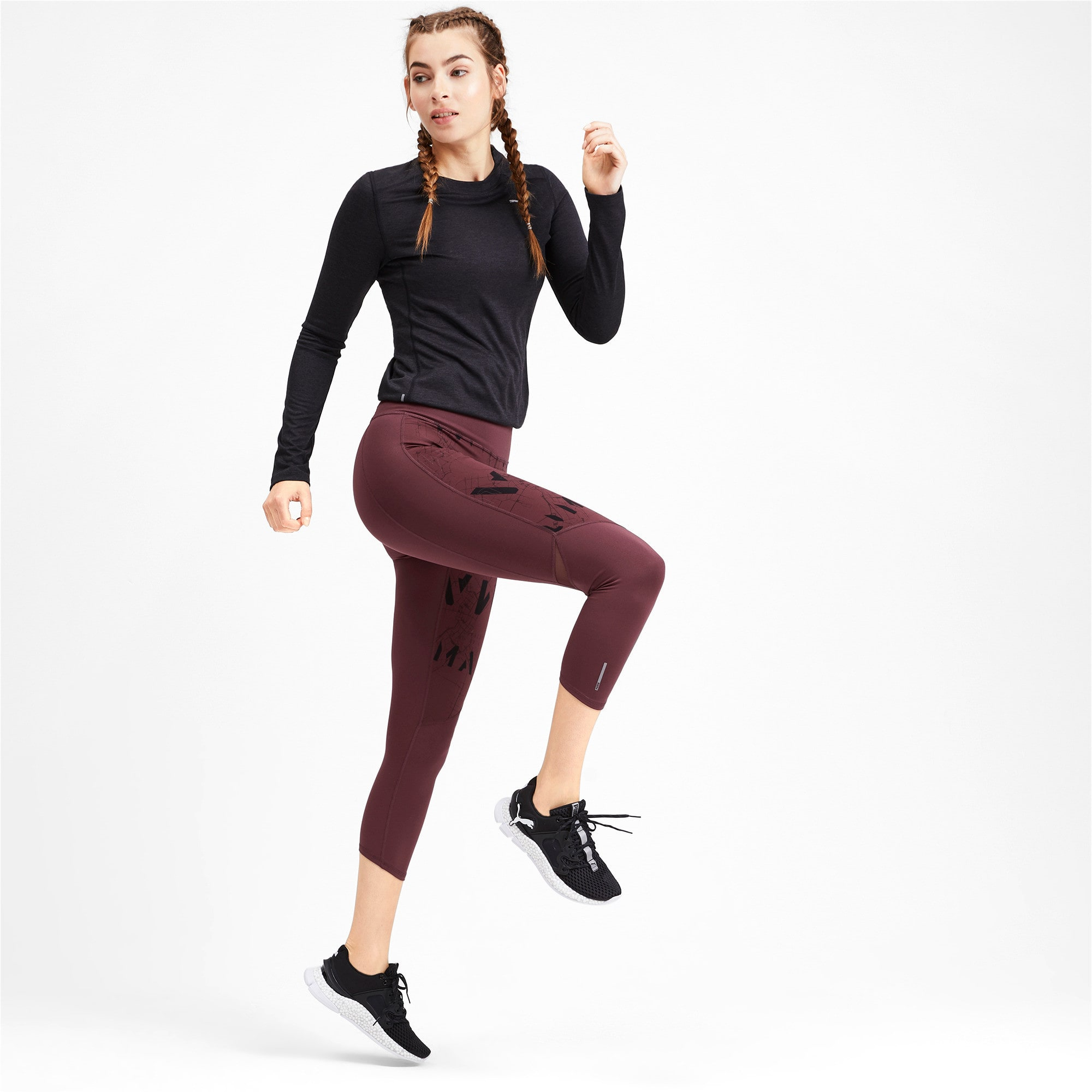 Thumbnail 3 of Graphic 3/4 Women's Running Tights, Vineyard Wine-Reflective, medium-IND