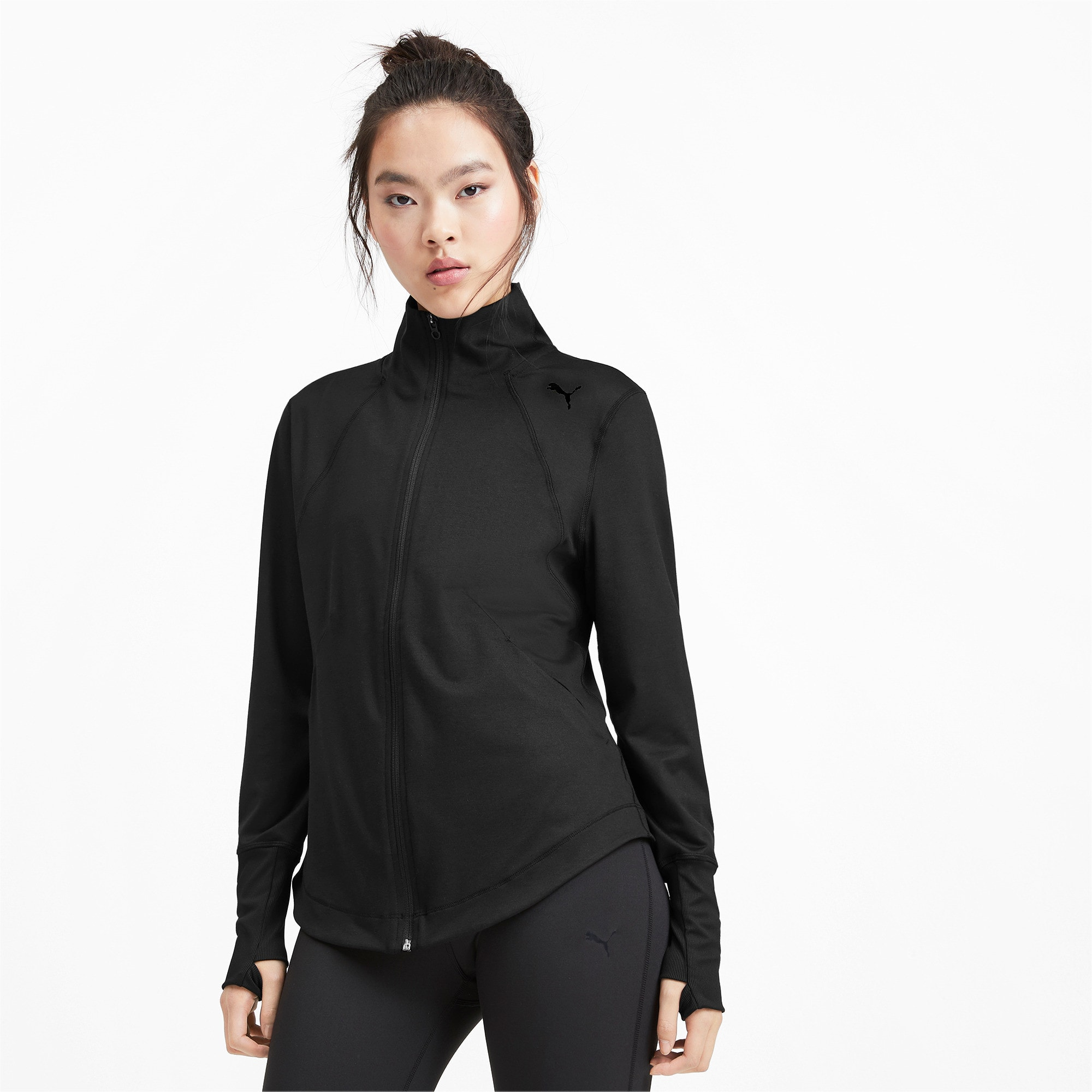 Thumbnail 1 of Studio Knit Women's Training Jacket, Puma Black, medium-IND