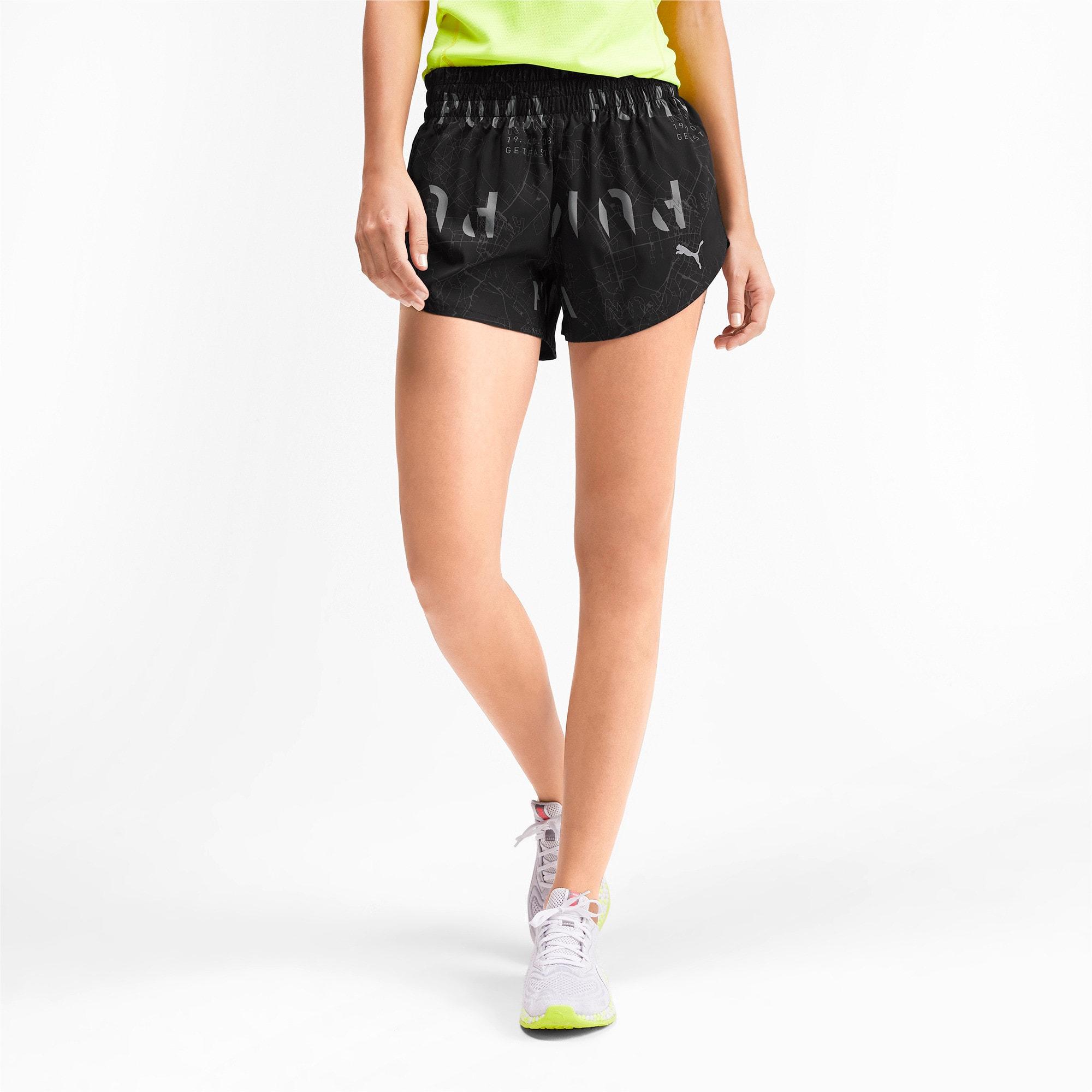 "Thumbnail 1 of 3"" Graphic Women's Shorts, Puma Black-Reflective Print, medium"