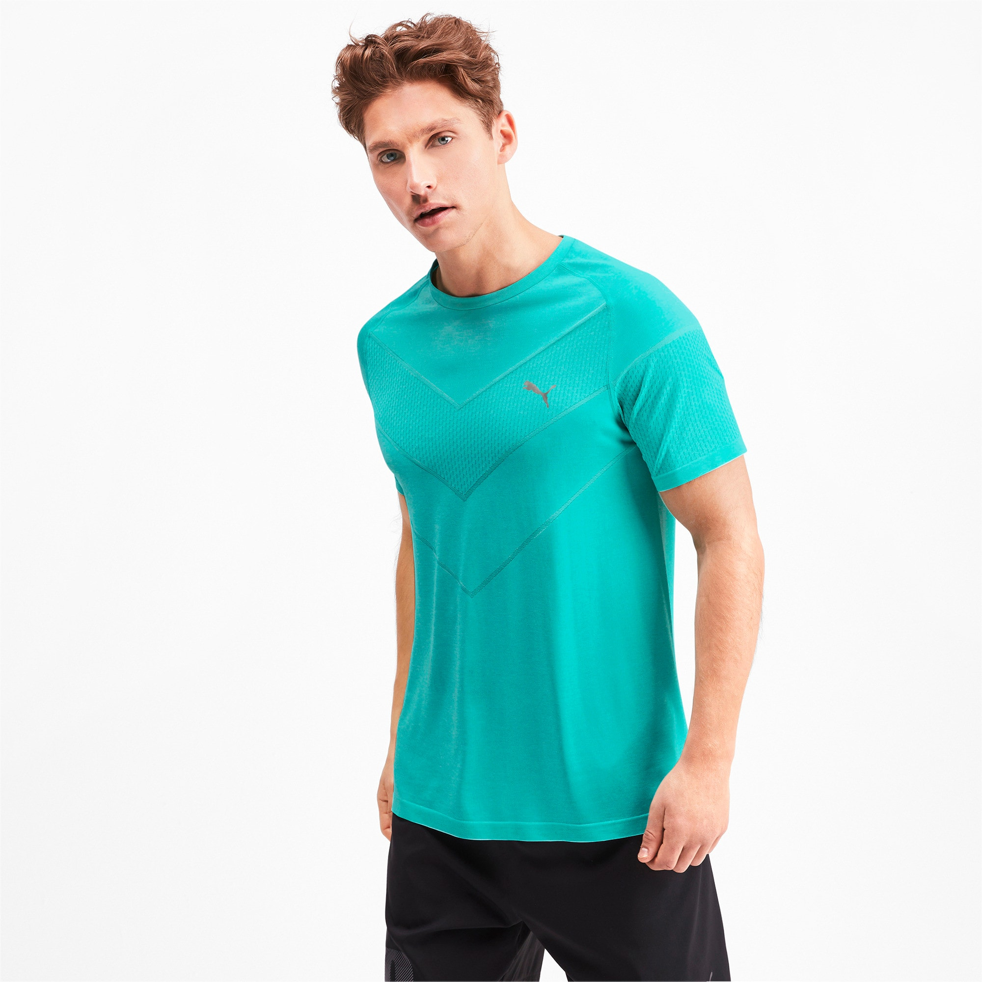 Thumbnail 1 of Reactive evoKNIT Men's Tee, Blue Turquoise Heather, medium