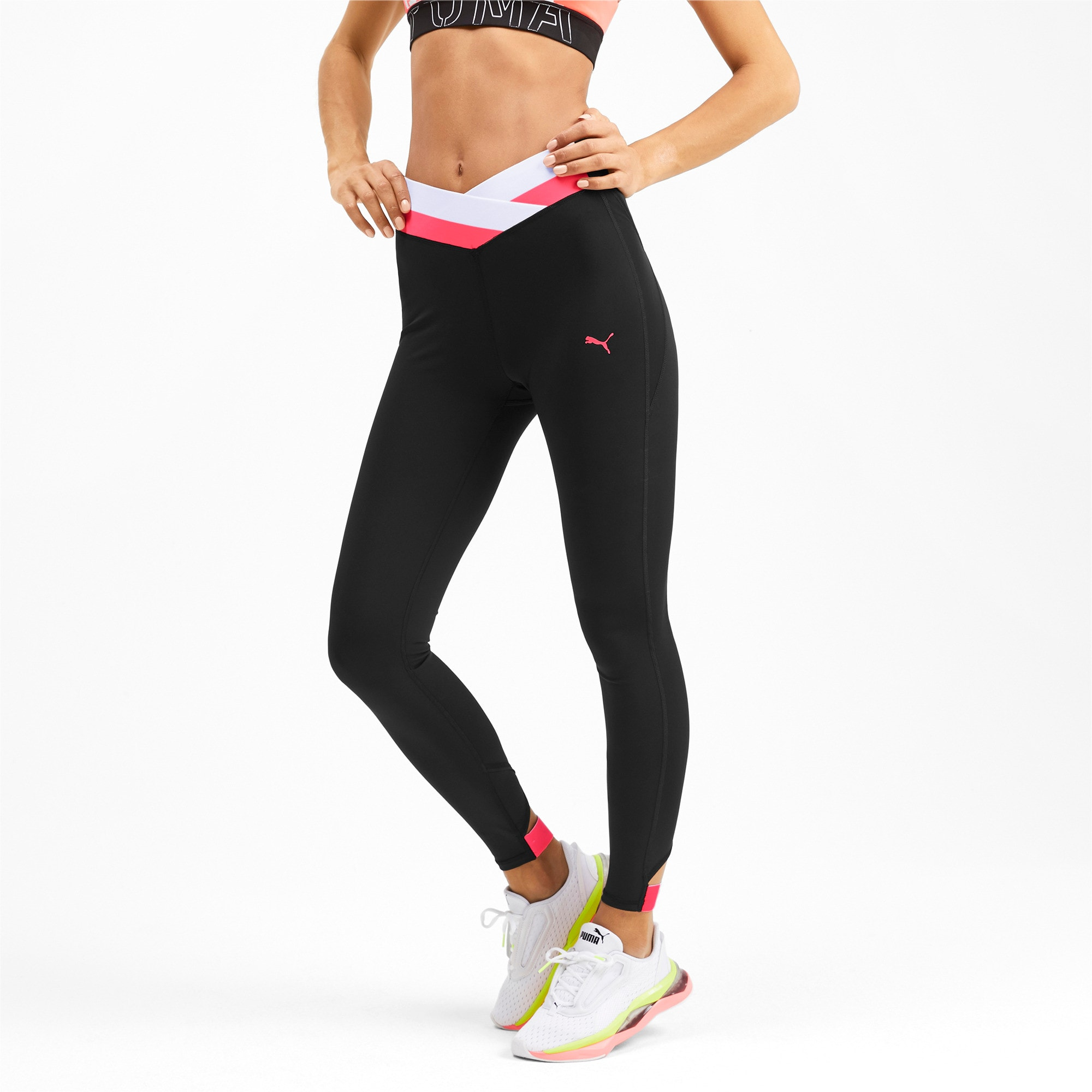 Thumbnail 1 of HIT Feel It 7/8 Women's Training Leggings, Puma Black-Pink Alert, medium