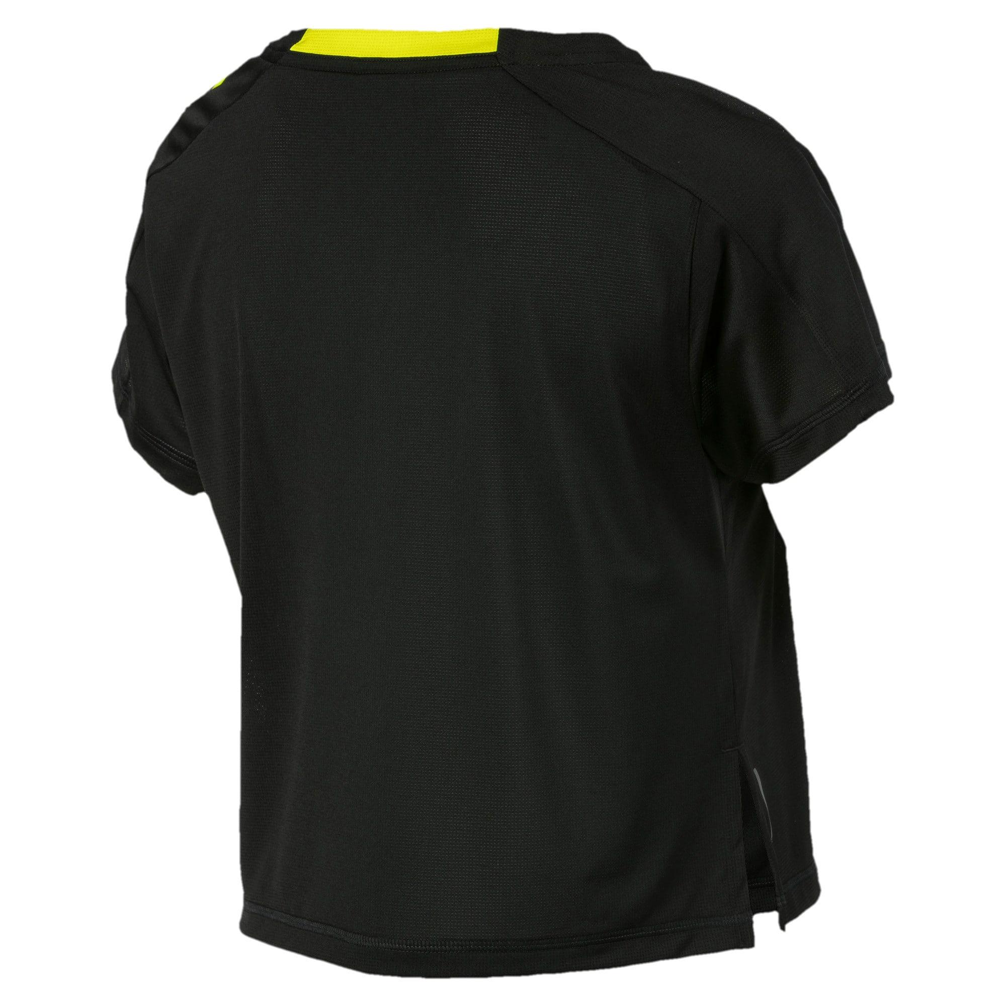 Thumbnail 5 of Cropped Short Sleeve Women's Training Tee, Puma Black-Yellow Alert, medium-IND