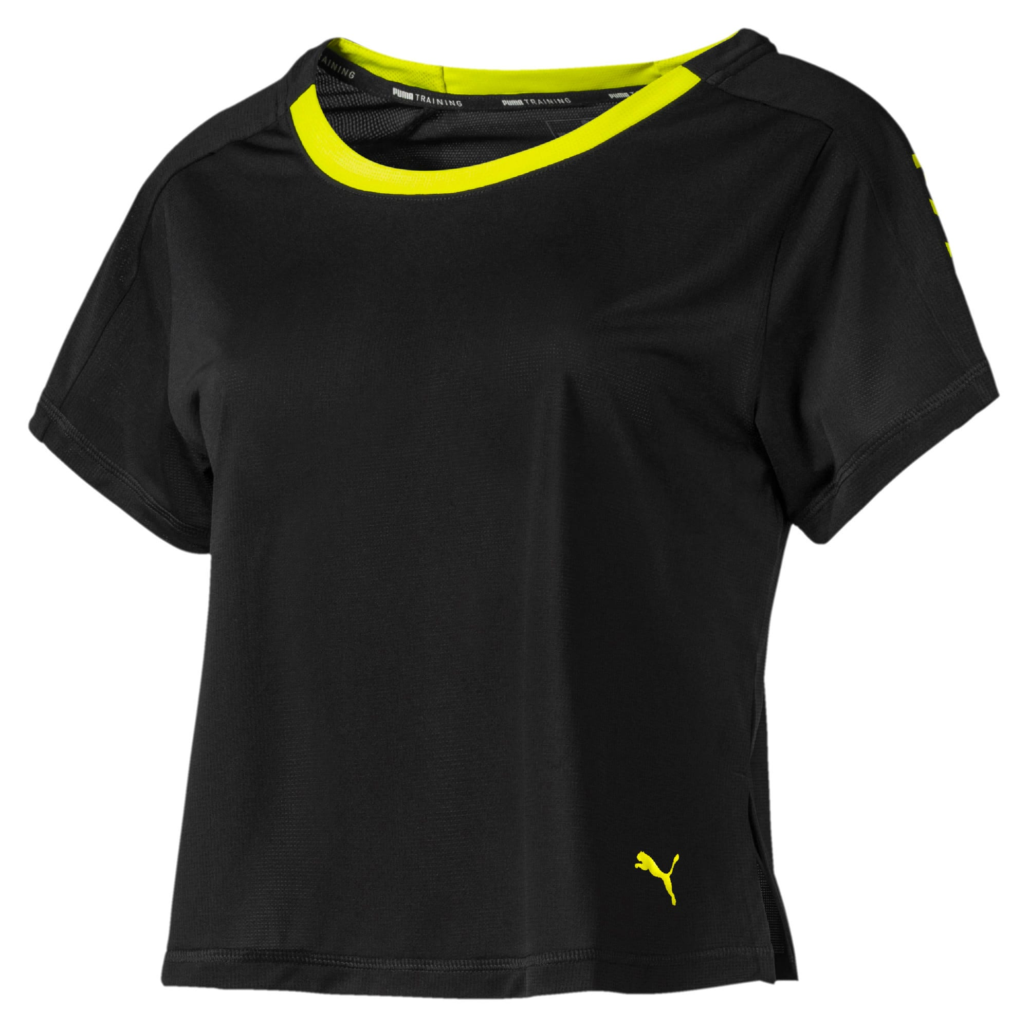 Thumbnail 4 of Cropped Short Sleeve Women's Training Tee, Puma Black-Yellow Alert, medium-IND