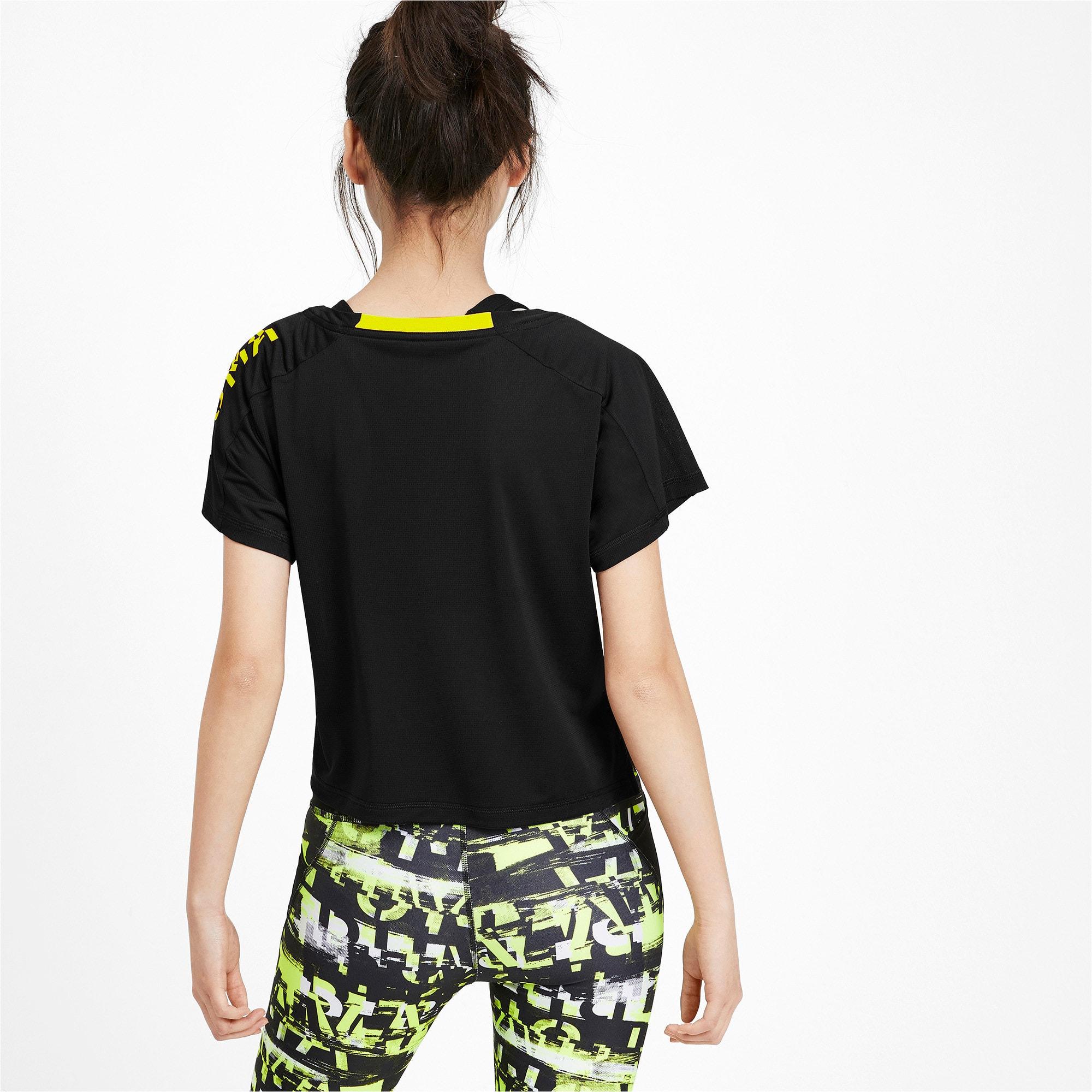 Thumbnail 2 of Cropped Short Sleeve Women's Training Tee, Puma Black-Yellow Alert, medium-IND