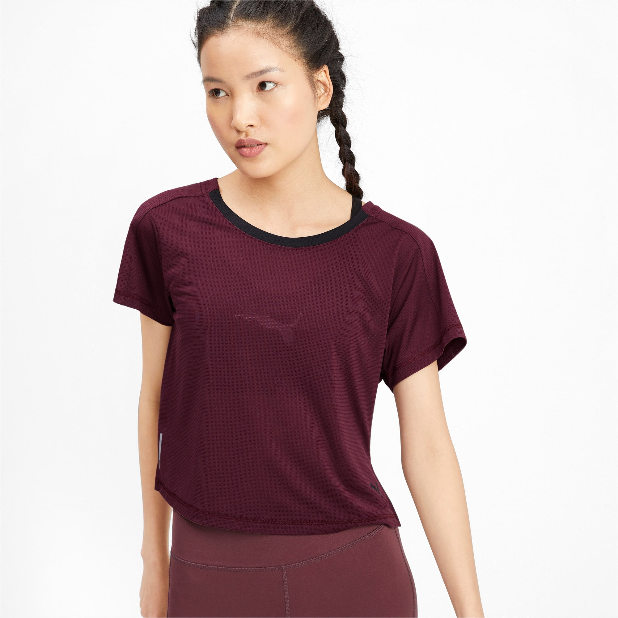 Thumbnail 1 of Cropped Short Sleeve Women's Training Tee, Vineyard Wine, medium