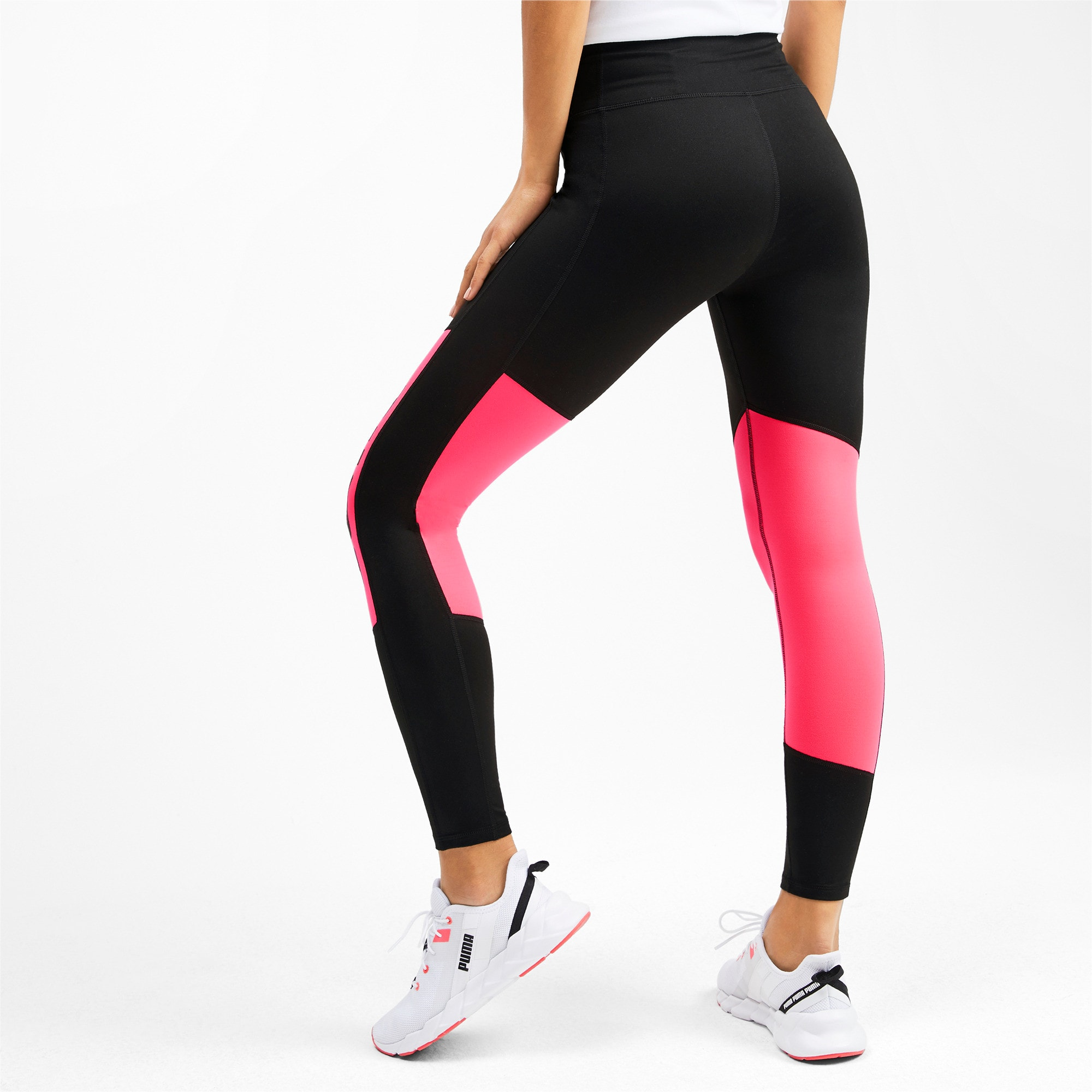 Thumbnail 2 of Leggings Training a 7/8 con grafica e logo donna, Puma Black-Pink Alert, medium