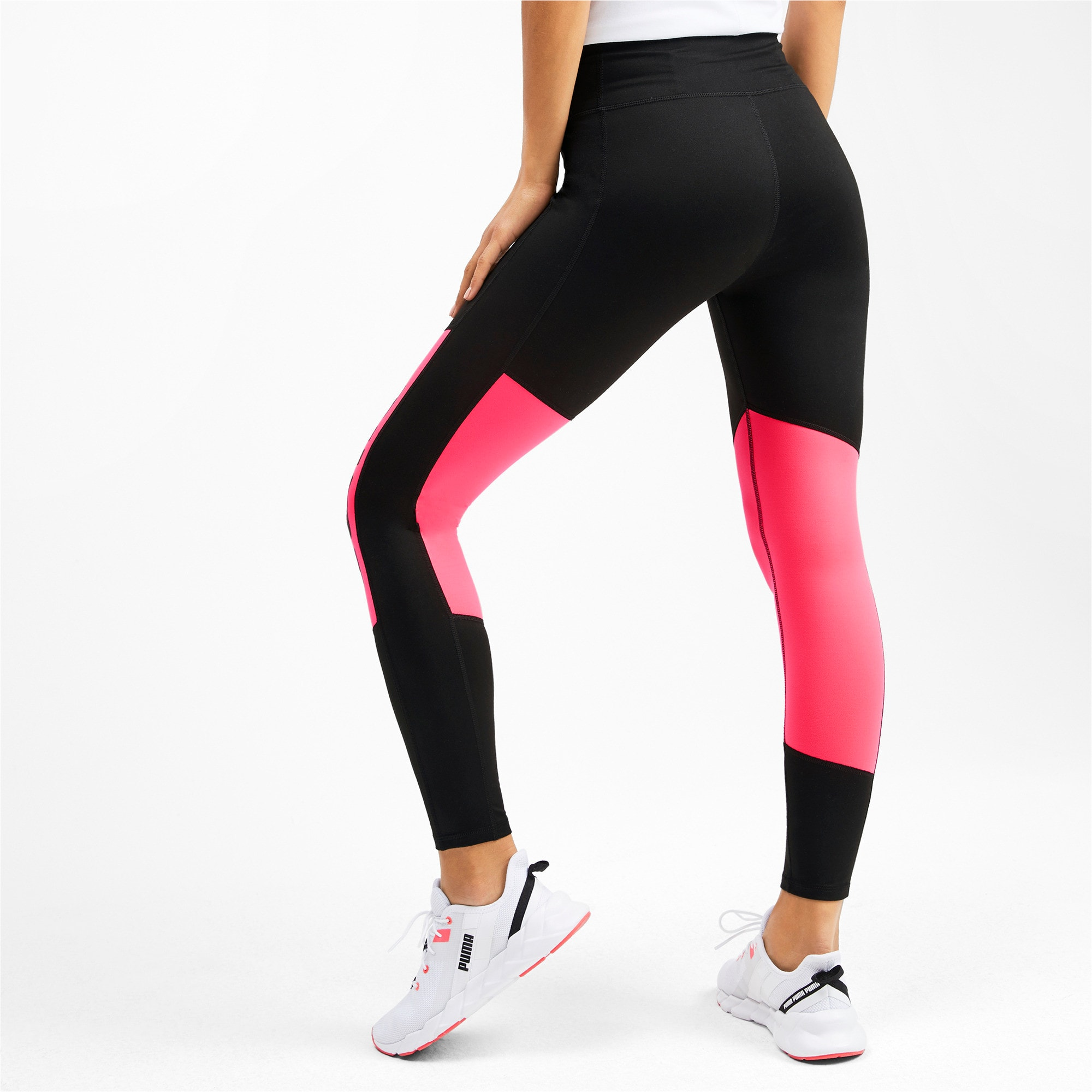 Thumbnail 2 of Logo 7/8 Graphic Women's Training Leggings, Puma Black-Pink Alert, medium-IND