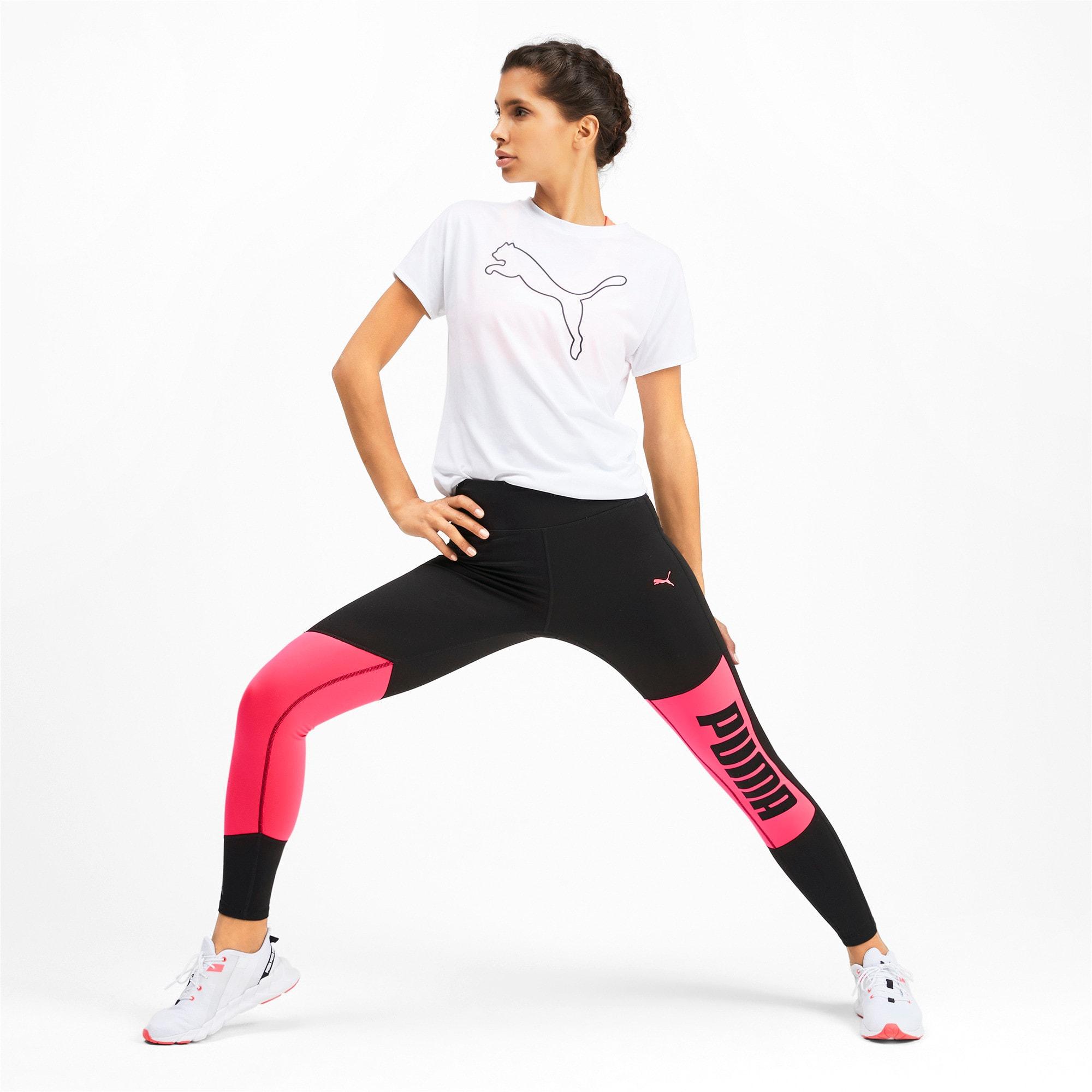 Thumbnail 3 of Logo 7/8 Graphic Women's Training Leggings, Puma Black-Pink Alert, medium-IND