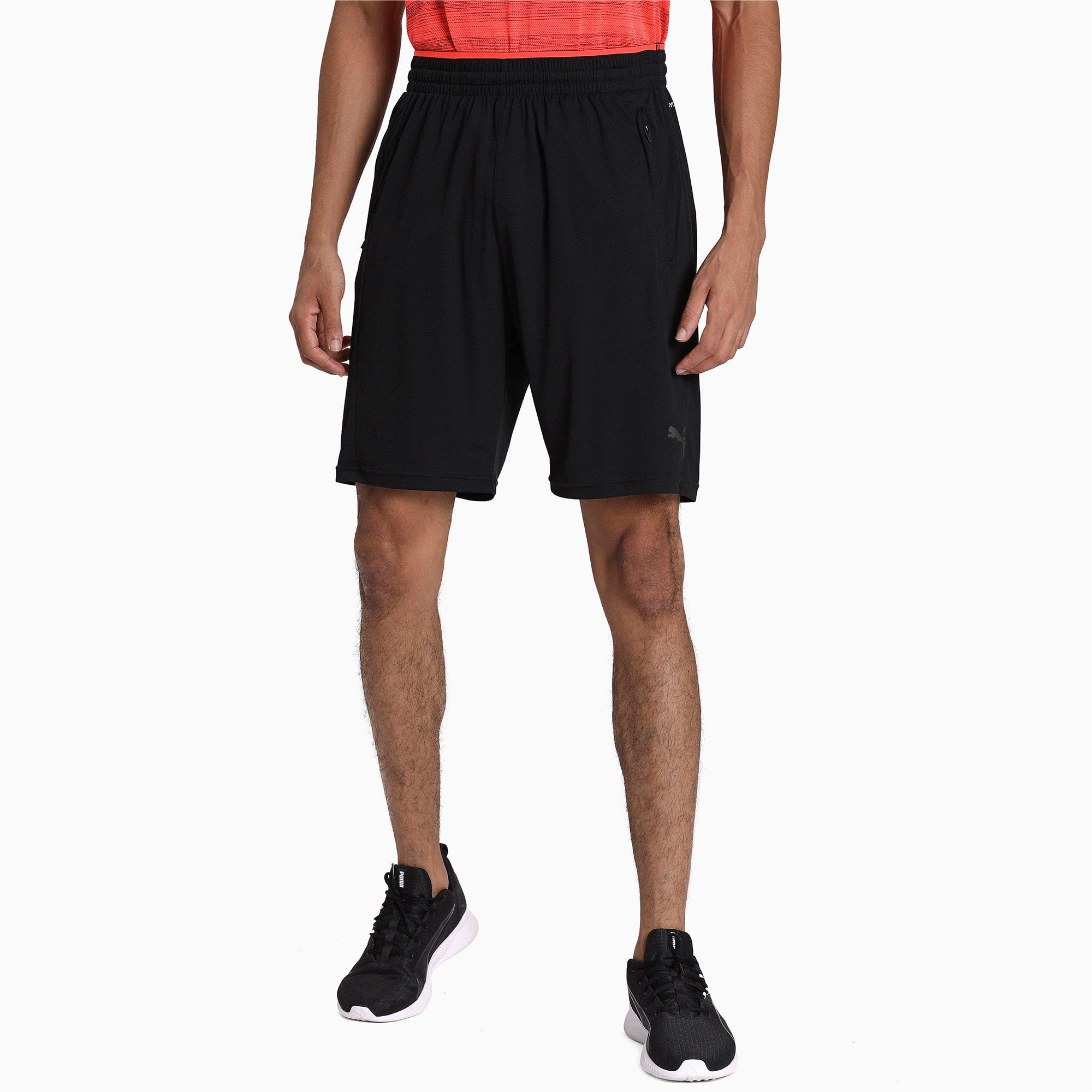 Thumbnail 1 of Collective Knitted Men's Training Shorts, Puma Black-Nrgy Red, medium-IND
