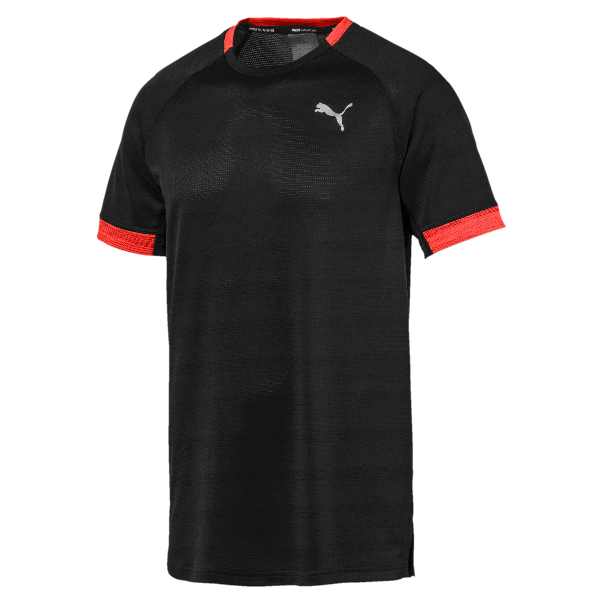 Thumbnail 4 of Get Fast THERMO R+ Men's Running Tee, Black Htr-Nrgy Red Htr, medium-IND