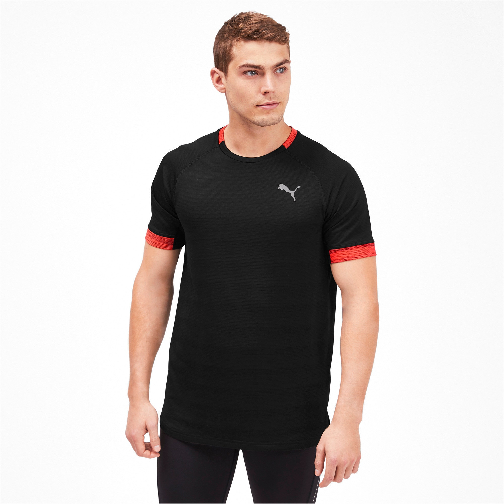 Thumbnail 1 of Get Fast THERMO R+ Men's Running Tee, Black Htr-Nrgy Red Htr, medium-IND