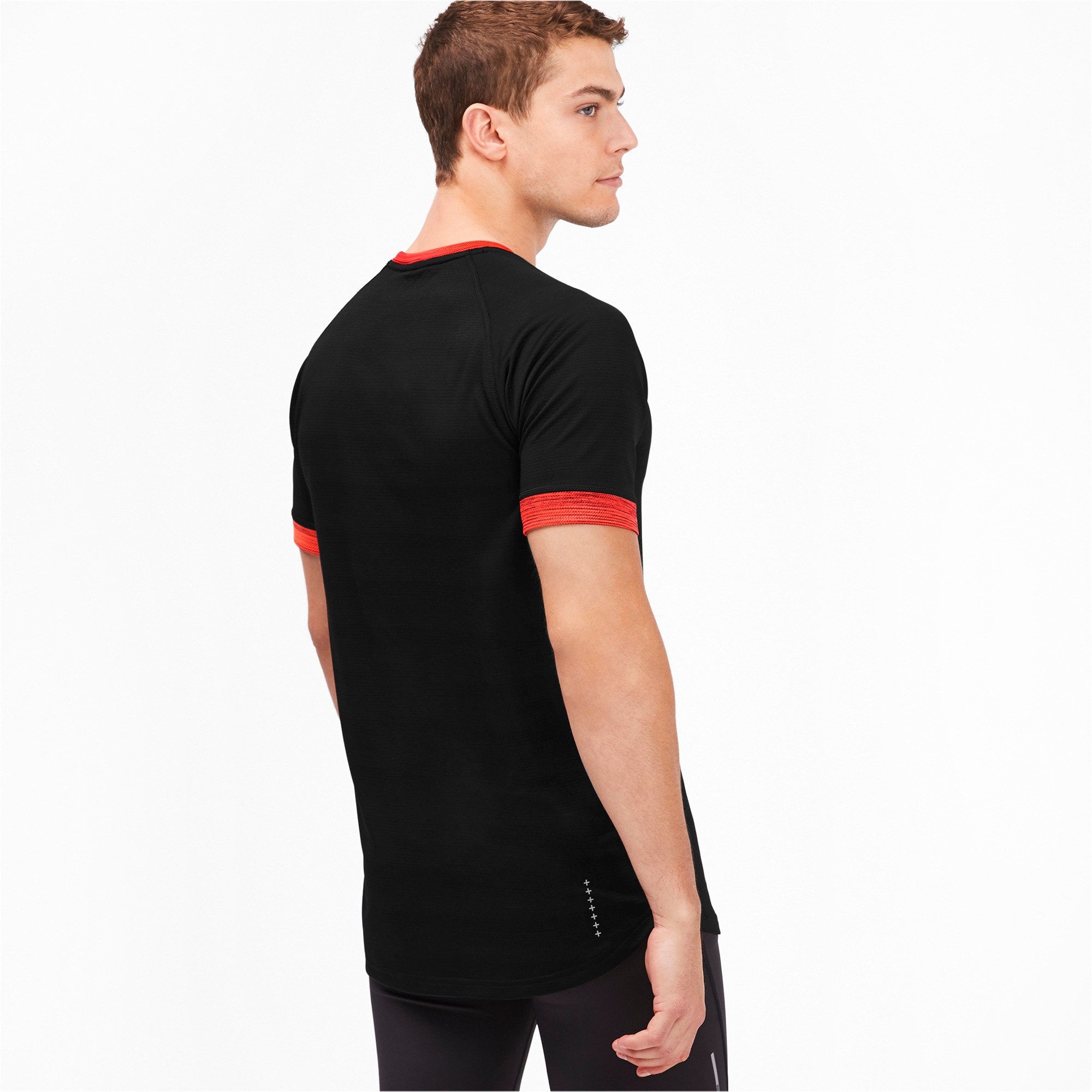 Thumbnail 2 of Get Fast THERMO R+ Men's Running Tee, Black Htr-Nrgy Red Htr, medium-IND