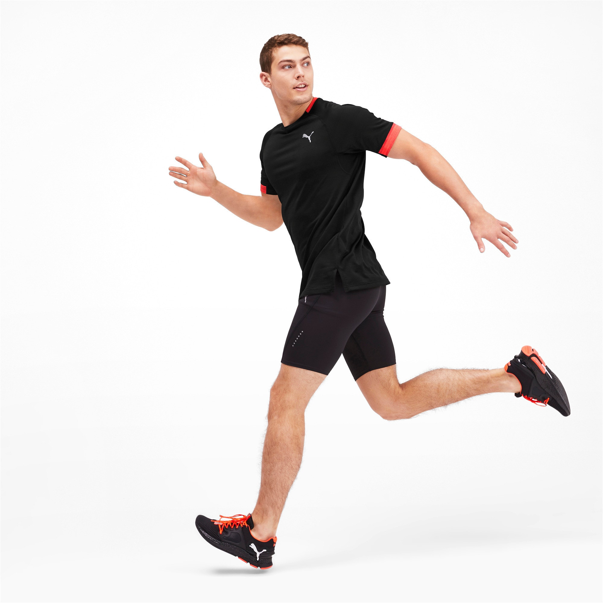 Thumbnail 3 of Get Fast THERMO R+ Men's Running Tee, Black Htr-Nrgy Red Htr, medium-IND