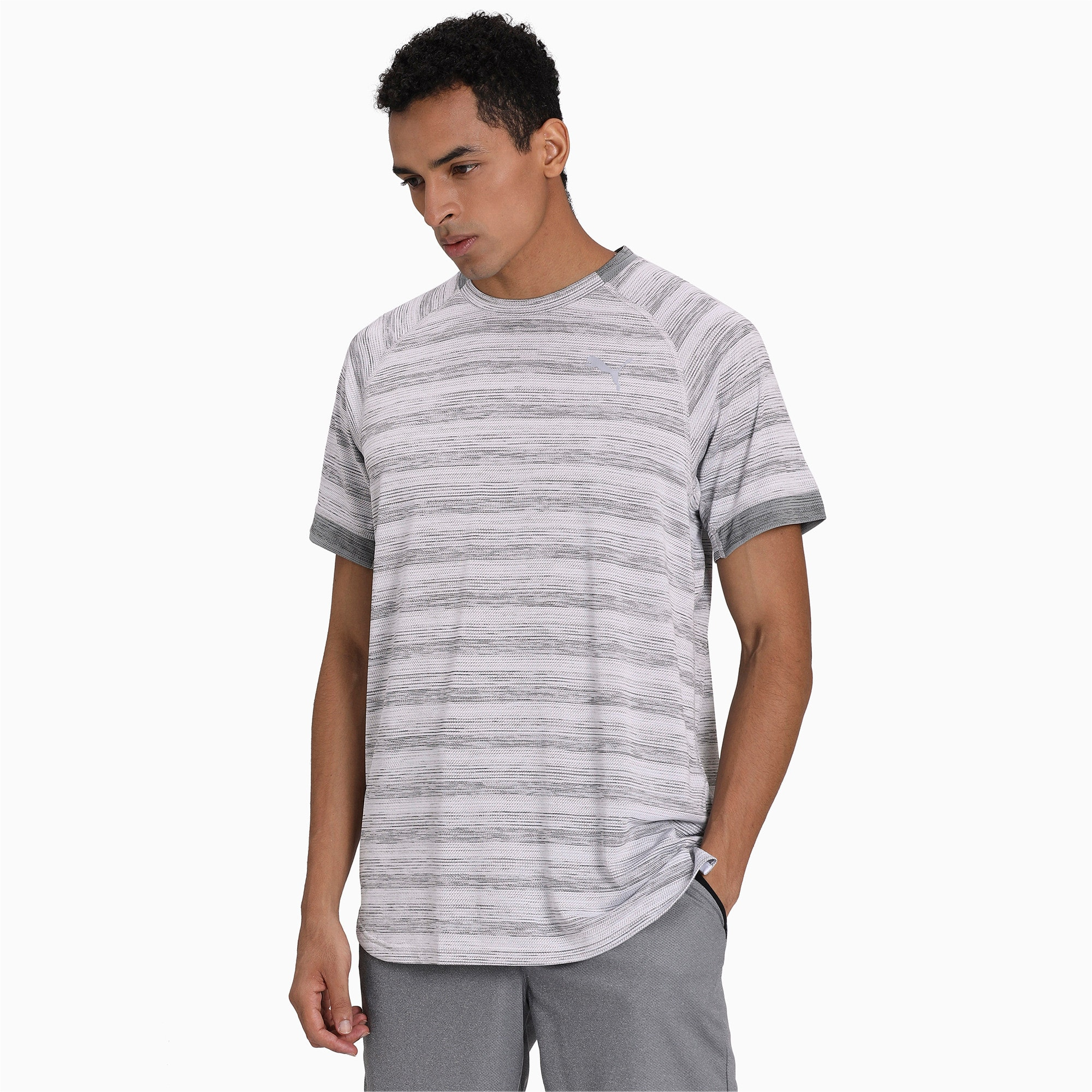 Thumbnail 1 of Get Fast THERMO R+ Men's Running Tee, White Heather-Med Gray Hthr, medium-IND