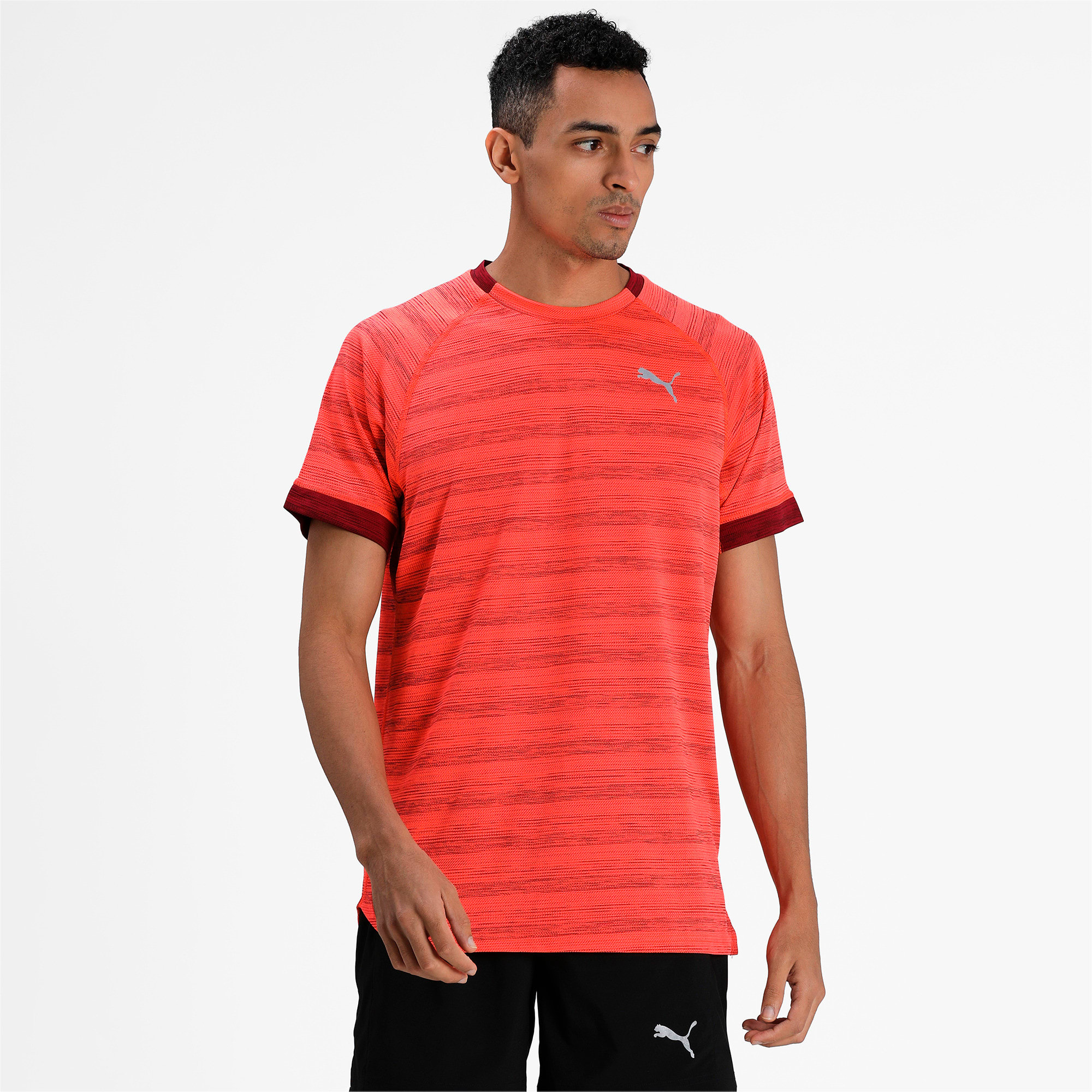Thumbnail 1 of Get Fast THERMO R+ Men's Running Tee, Nrgy Red Htr-Rhubarb Htr, medium-IND