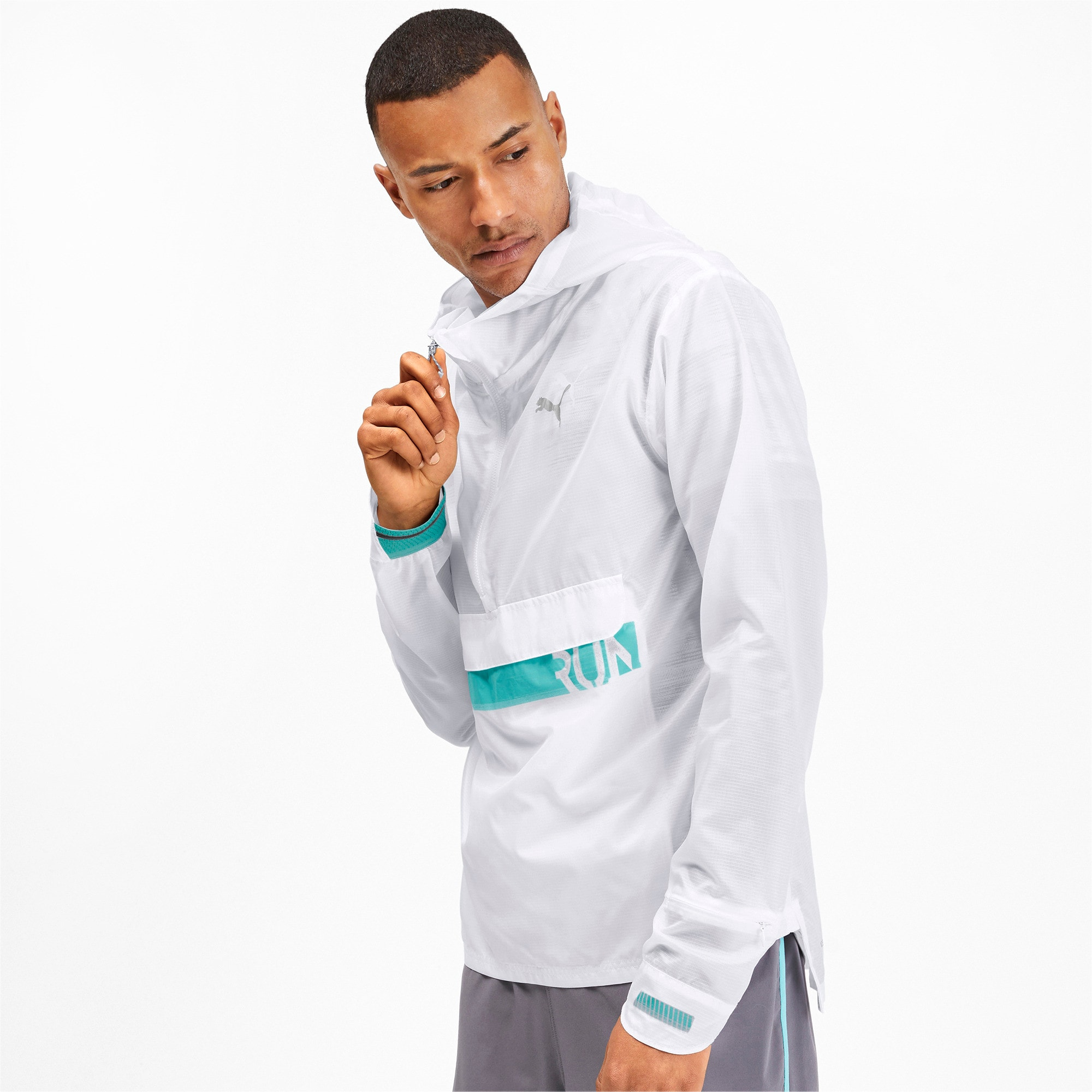 Thumbnail 1 of Get Fast Excite Woven Half Zip Men's Running Jacket, Puma White, medium-IND