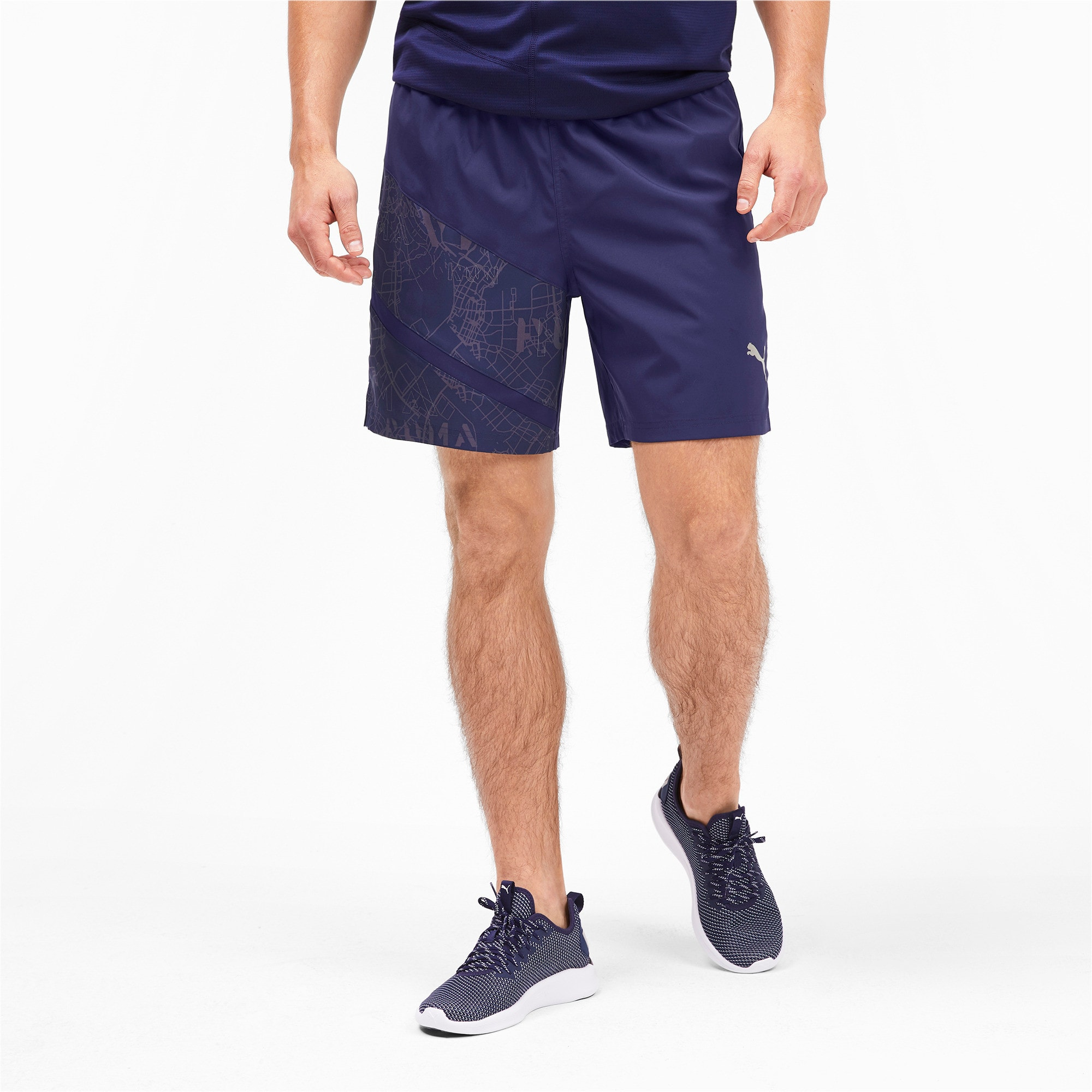 "Thumbnail 1 of IGNITE AOP Graphic 7"" Men's Running Shorts, Peacoat-AOP, medium-IND"