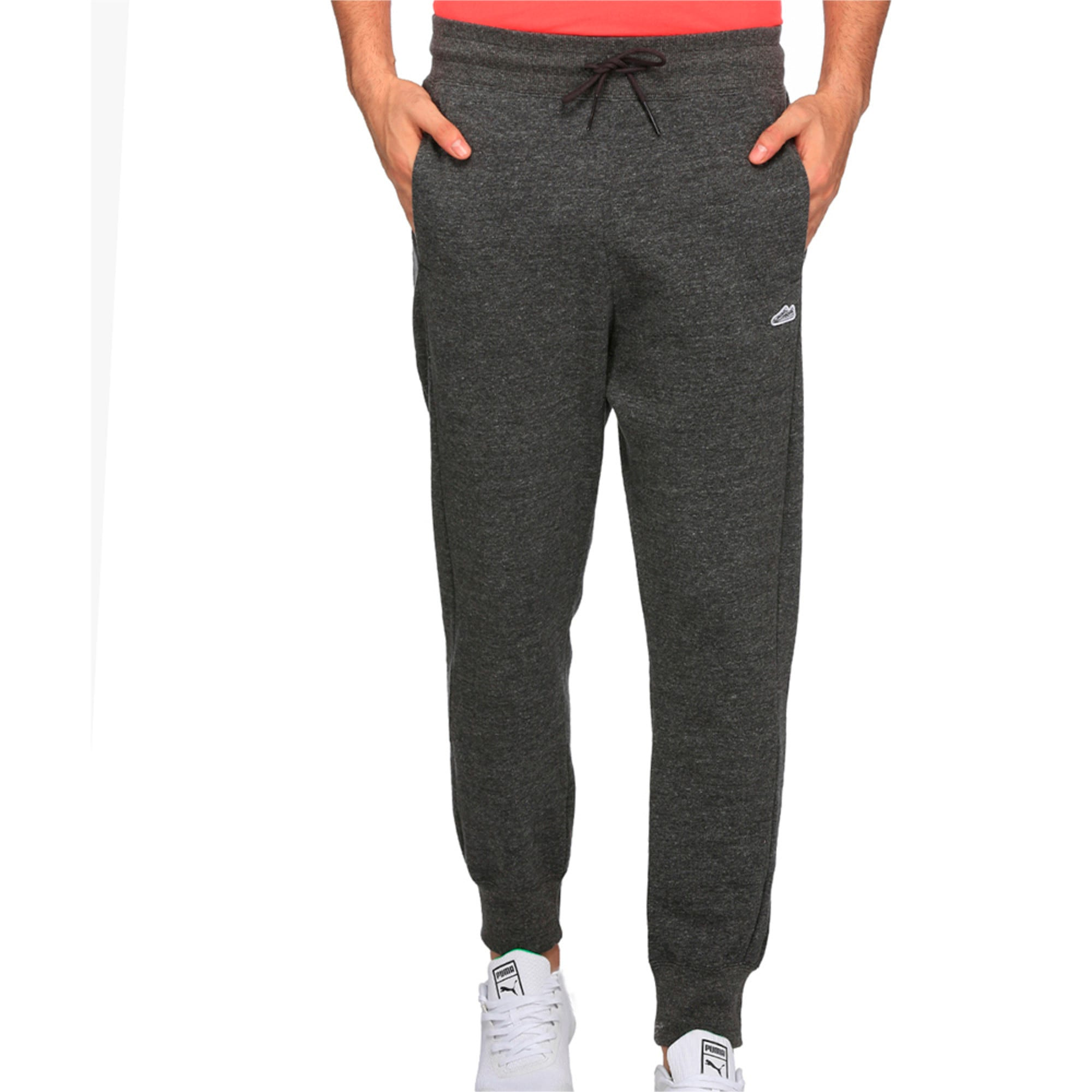 Men's Suede T7 Fleece Sweatpants, Puma Black Heather, large-IND