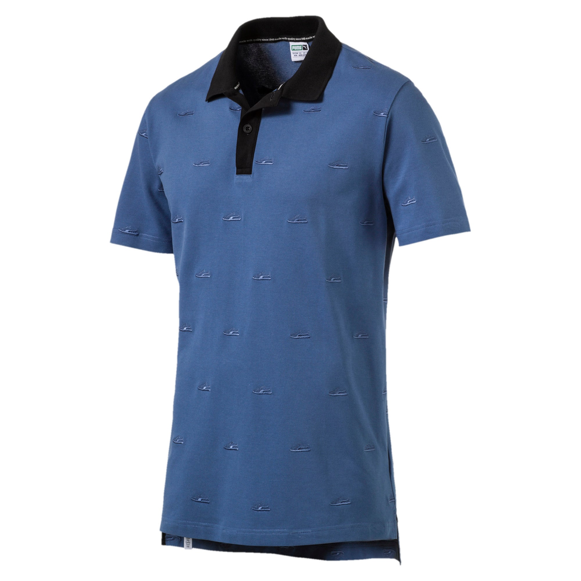 Thumbnail 2 of Men's Suede Embroidery Polo, Bijou Blue, medium-IND