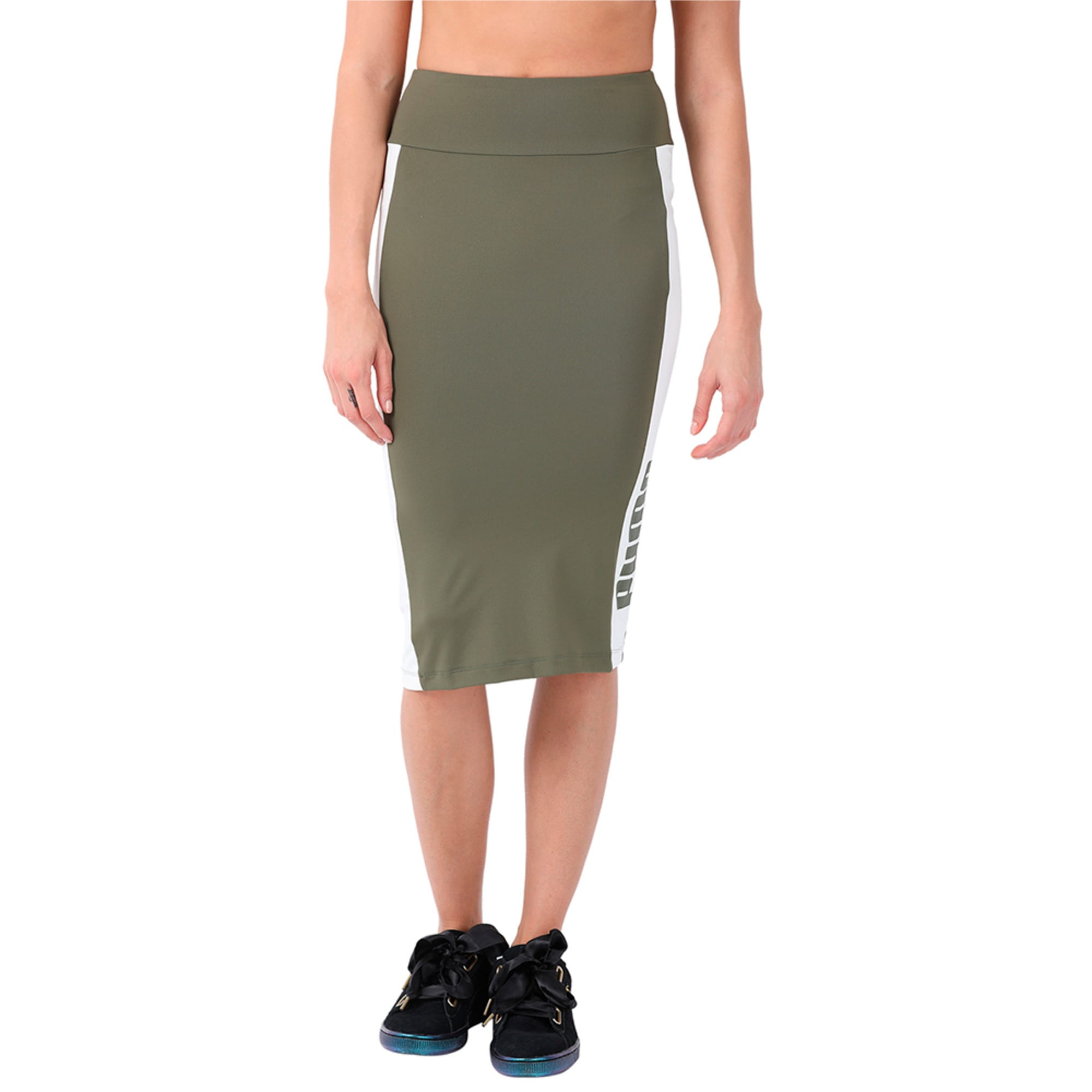 Thumbnail 4 of Women's Archive Logo Pencil Skirt, Olive Night, medium-IND