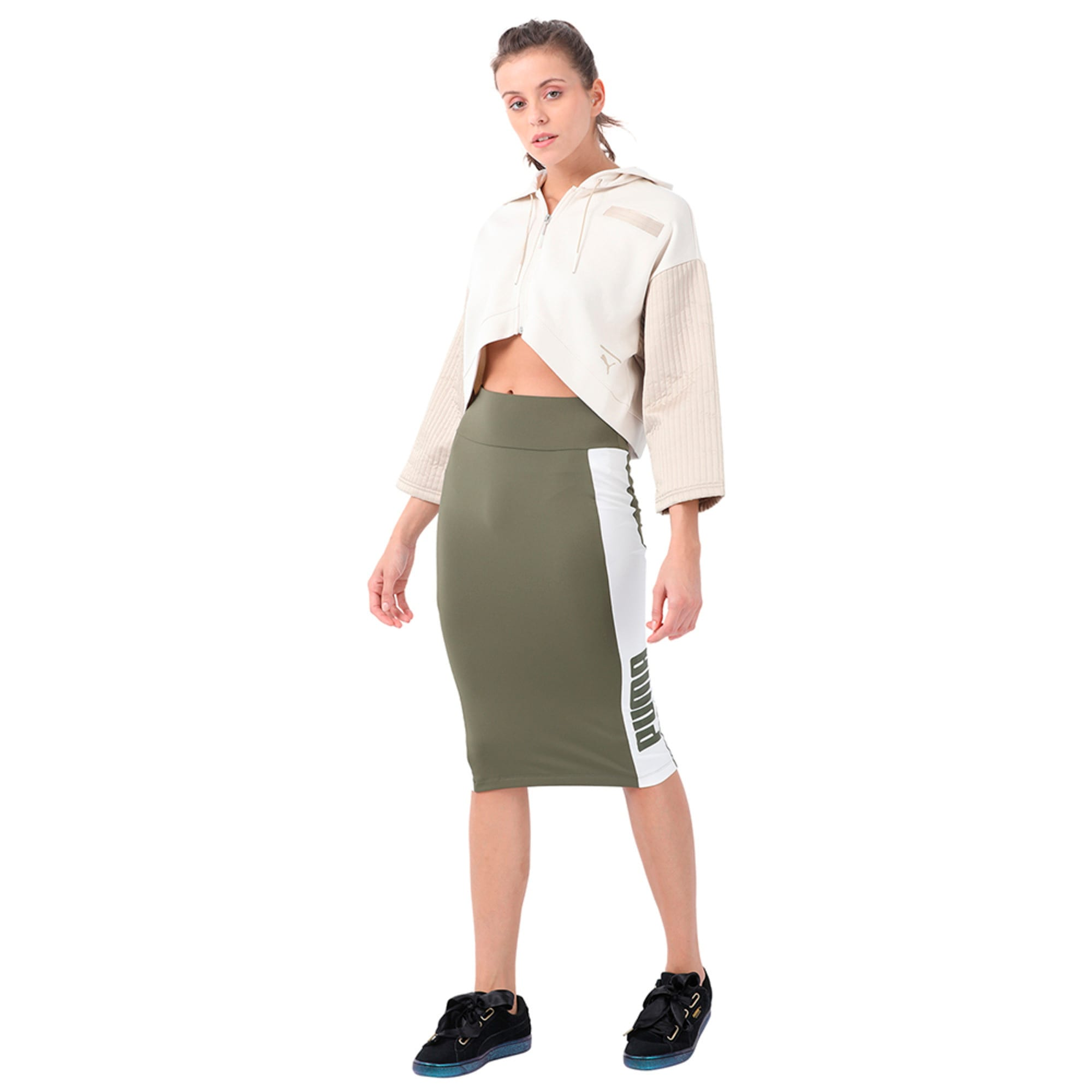 Thumbnail 1 of Women's Archive Logo Pencil Skirt, Olive Night, medium-IND