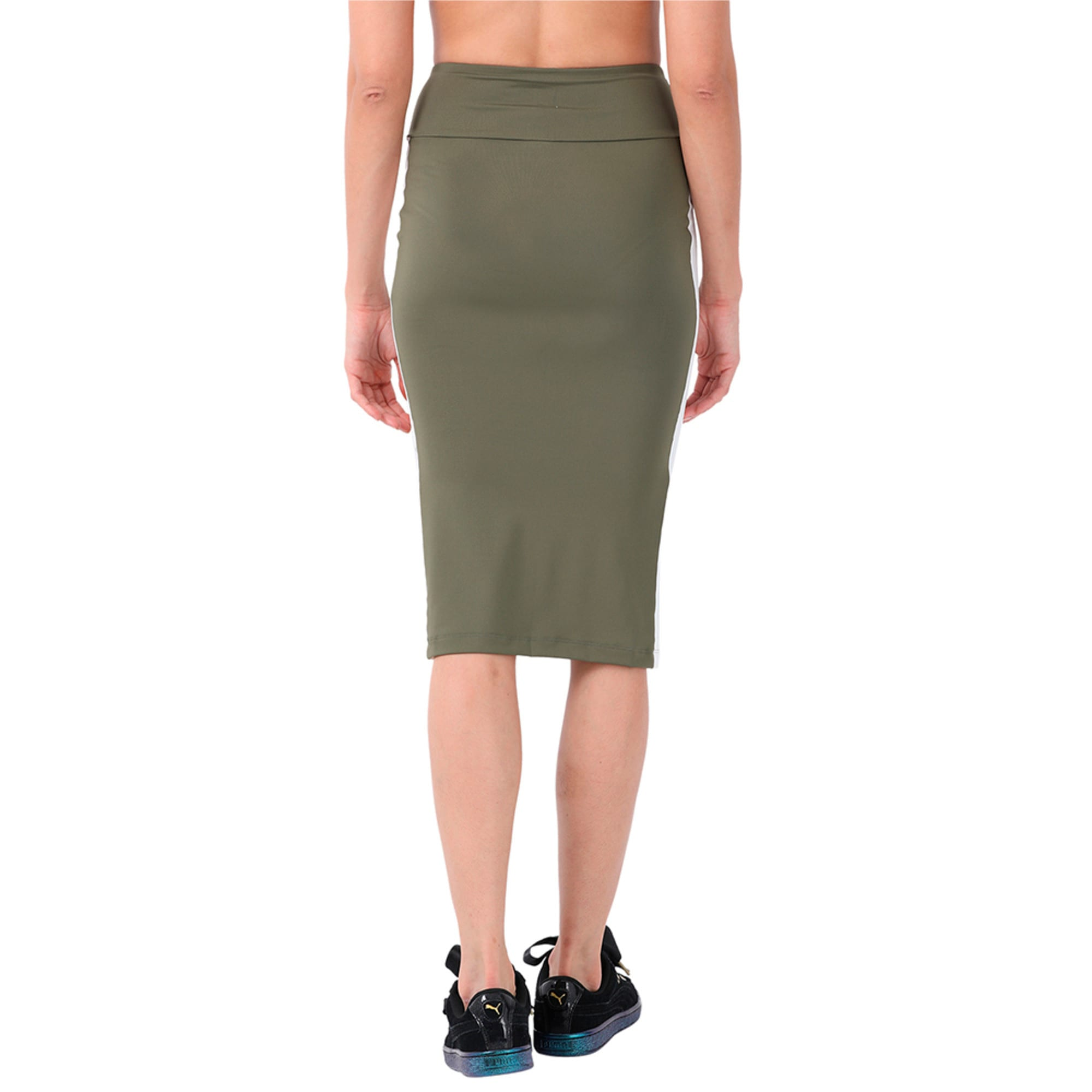 Thumbnail 2 of Women's Archive Logo Pencil Skirt, Olive Night, medium-IND