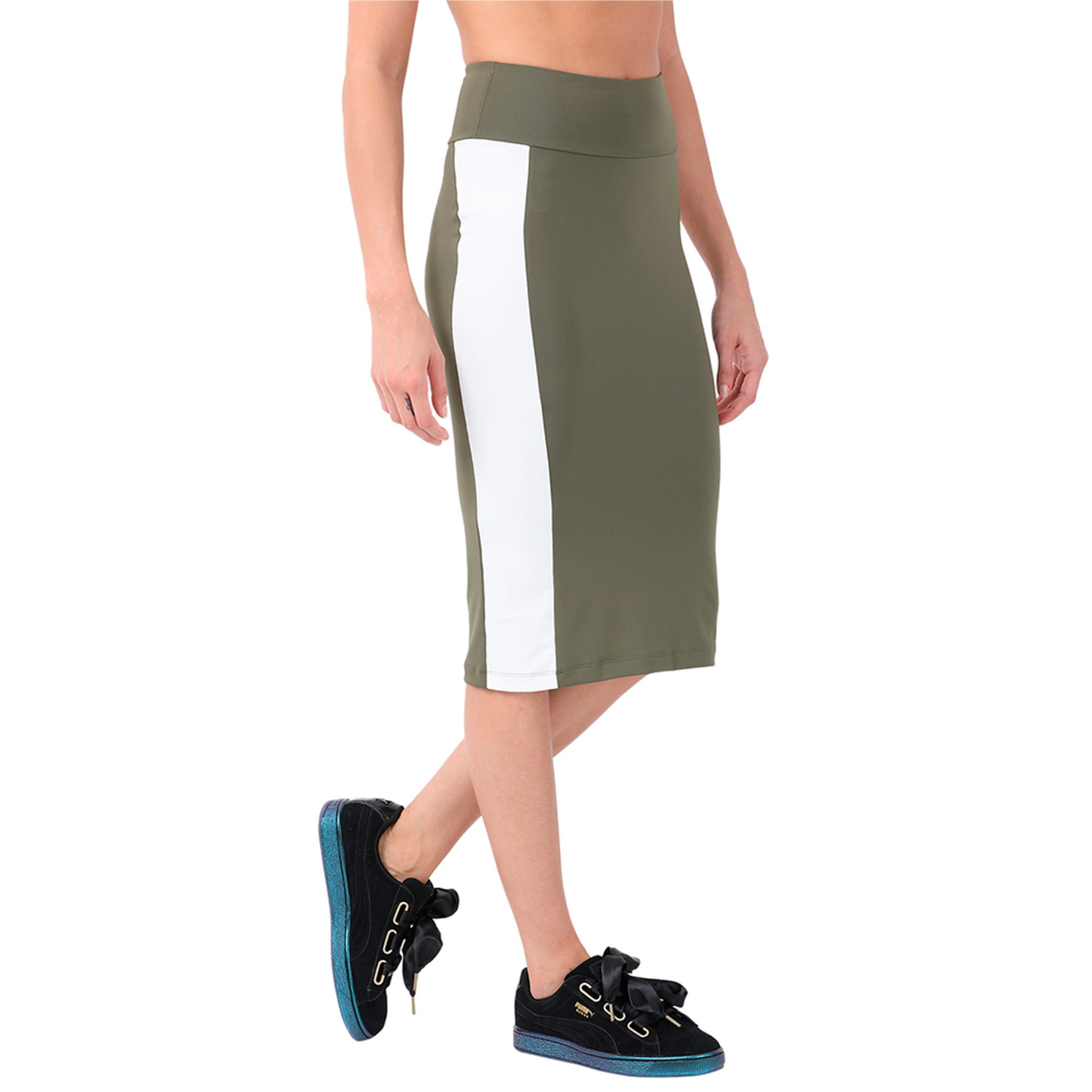 Thumbnail 3 of Women's Archive Logo Pencil Skirt, Olive Night, medium-IND