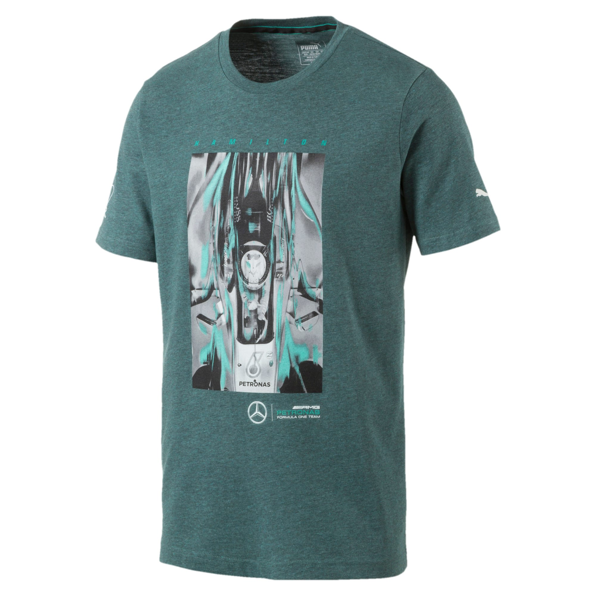 Thumbnail 2 of MERCEDES AMG PETRONAS Men's Driver T-Shirt, Deep Teal Heather, medium-IND