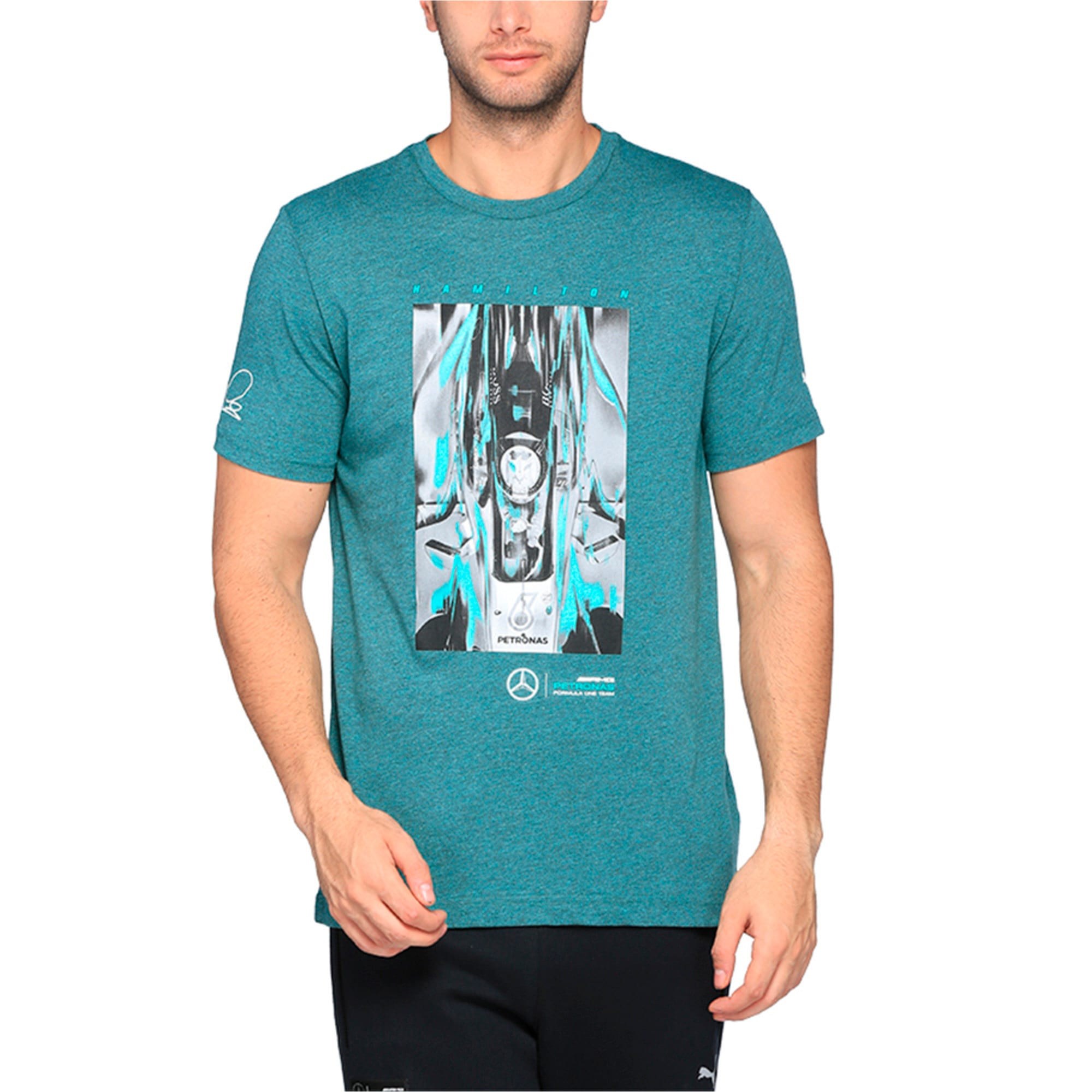 Thumbnail 1 of MERCEDES AMG PETRONAS Men's Driver T-Shirt, Deep Teal Heather, medium-IND